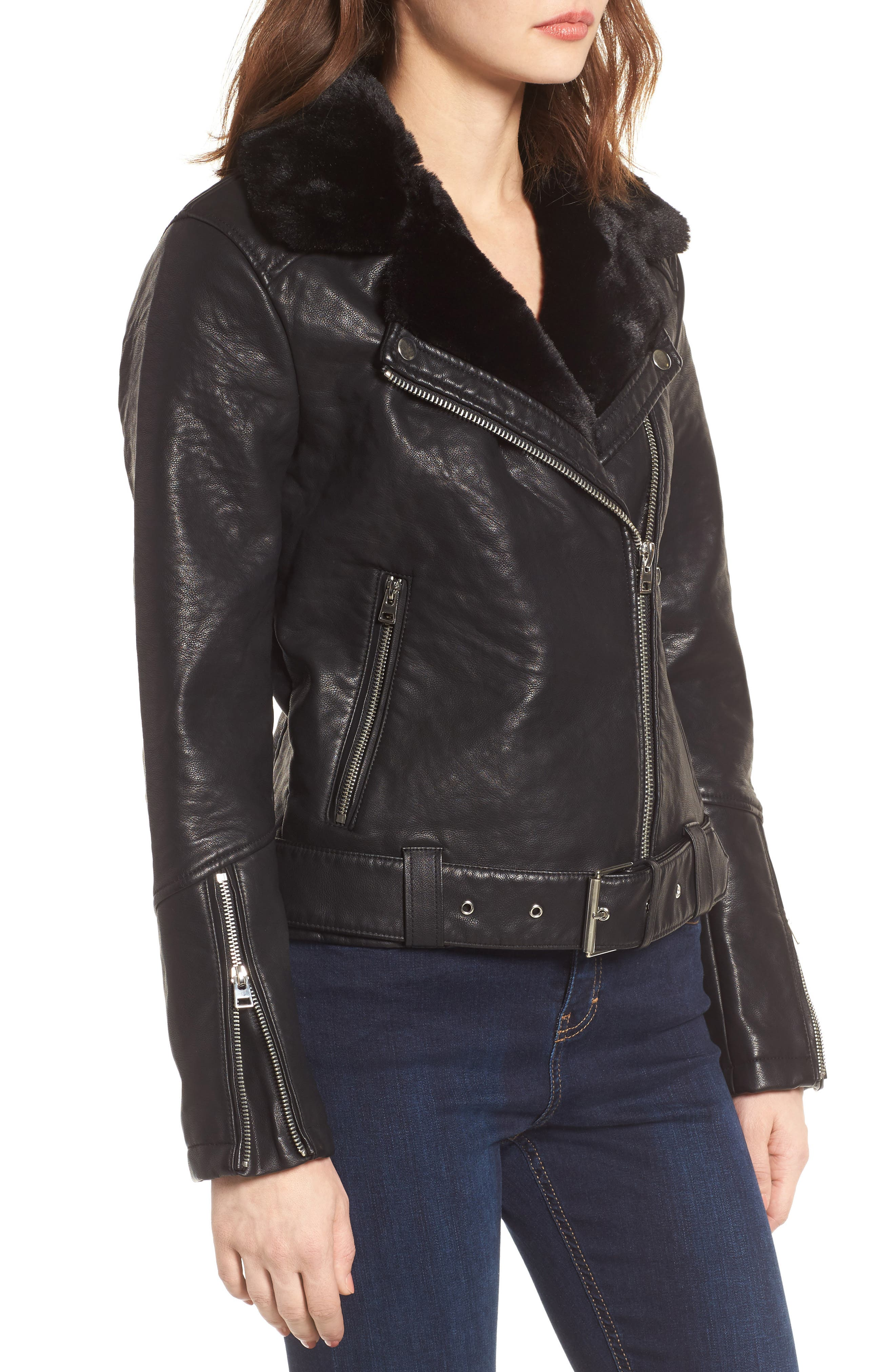 Alternate Image 4  - Topshop Vardy Faux Leather Biker Jacket