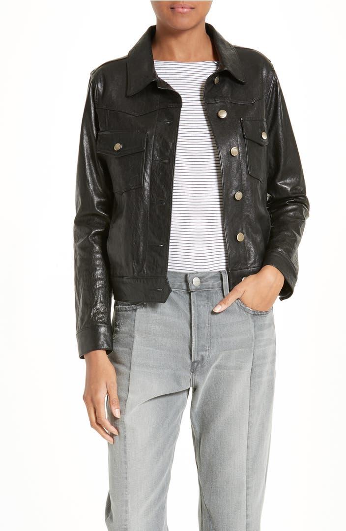 FRAME Cropped Leather Jacket   Nordstrom