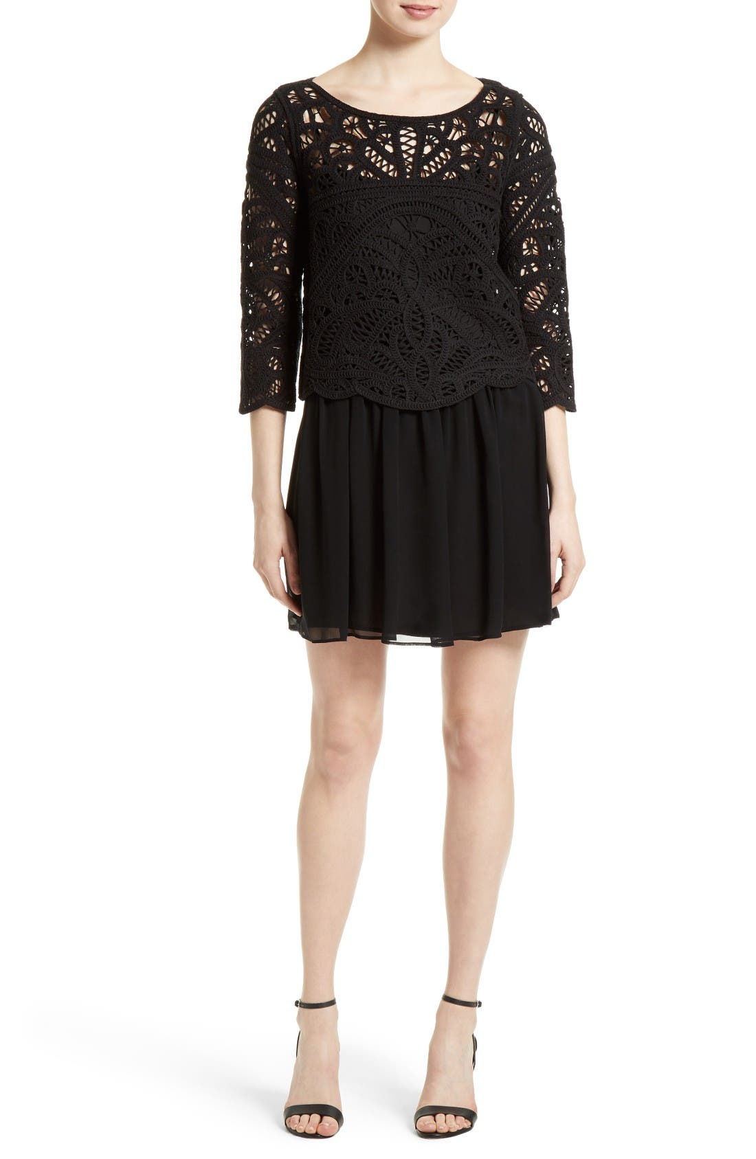 Main Image - Joie Jordie Crochet Overlay Chiffon Dress