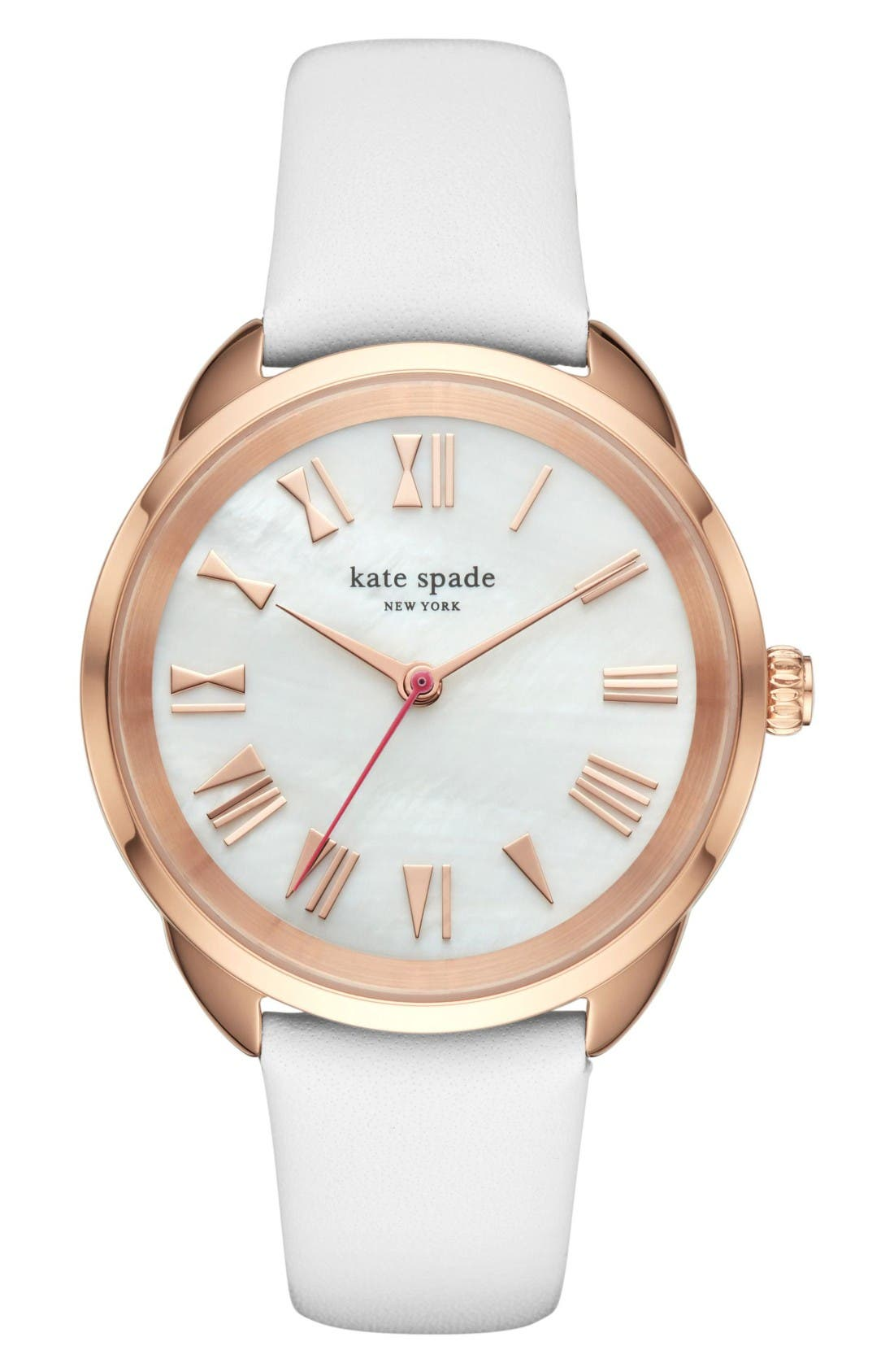 KATE SPADE NEW YORK 'crosstown' leather strap watch,