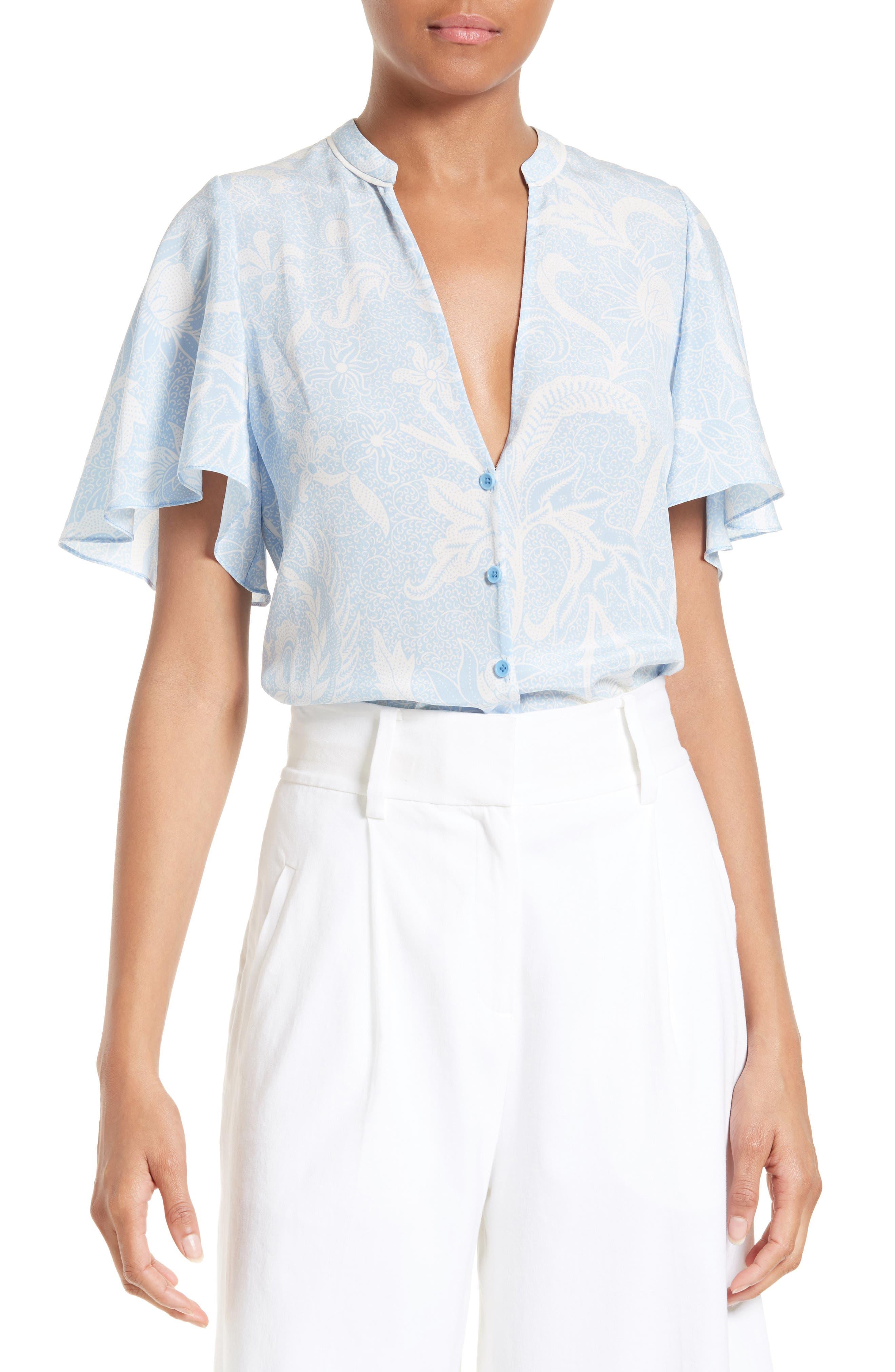 Diane von Furstenberg Silk Flutter Sleeve Top