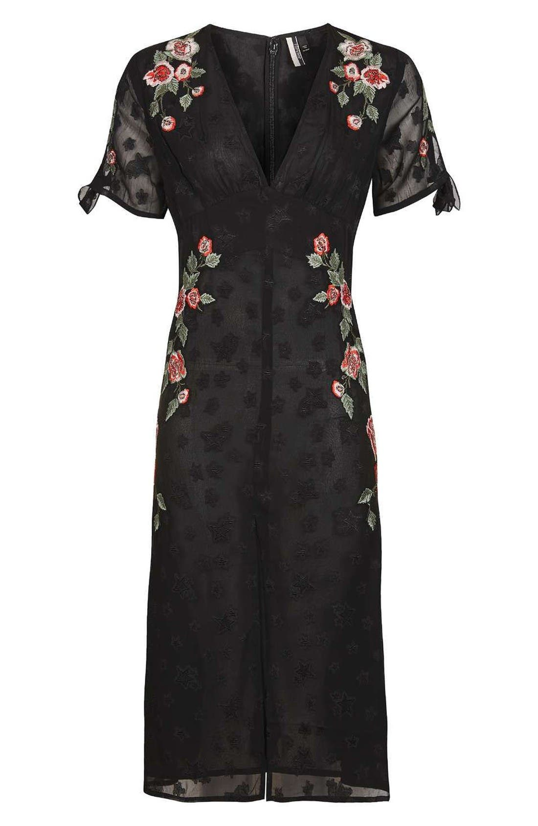 Alternate Image 4  - Topshop Embroidered Midi Dress