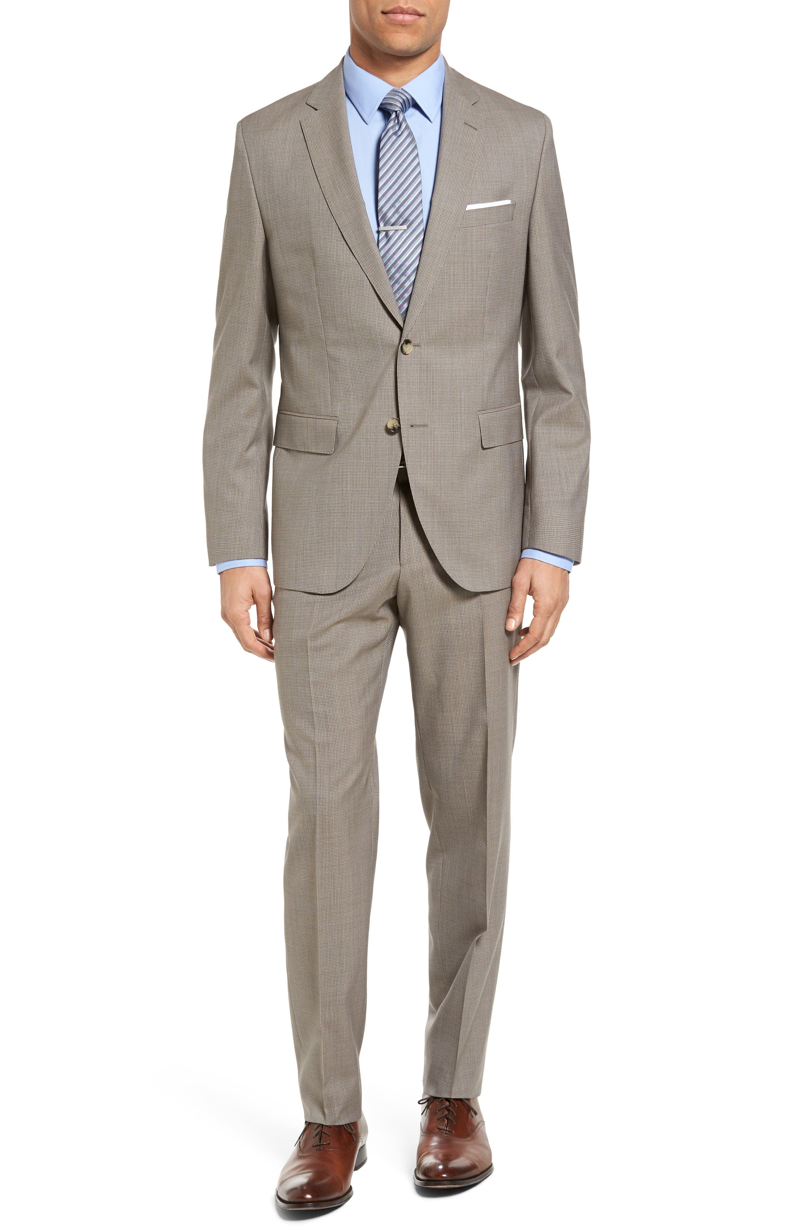 BOSS Johnstons/Lenon Trim Fit Houndstooth Wool Suit