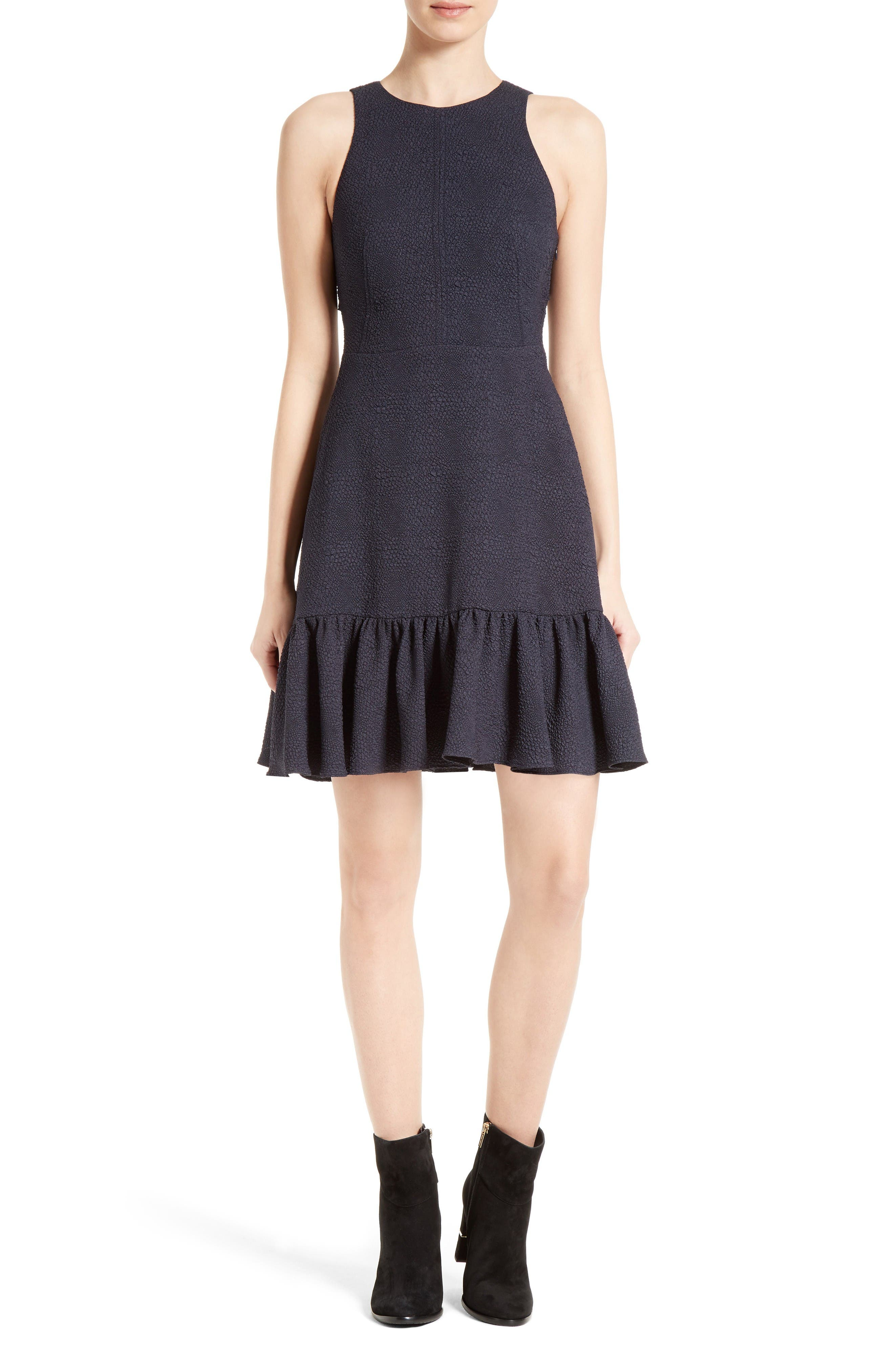REBECCA TAYLOR Textured Stretch Woven Ruffle Dress