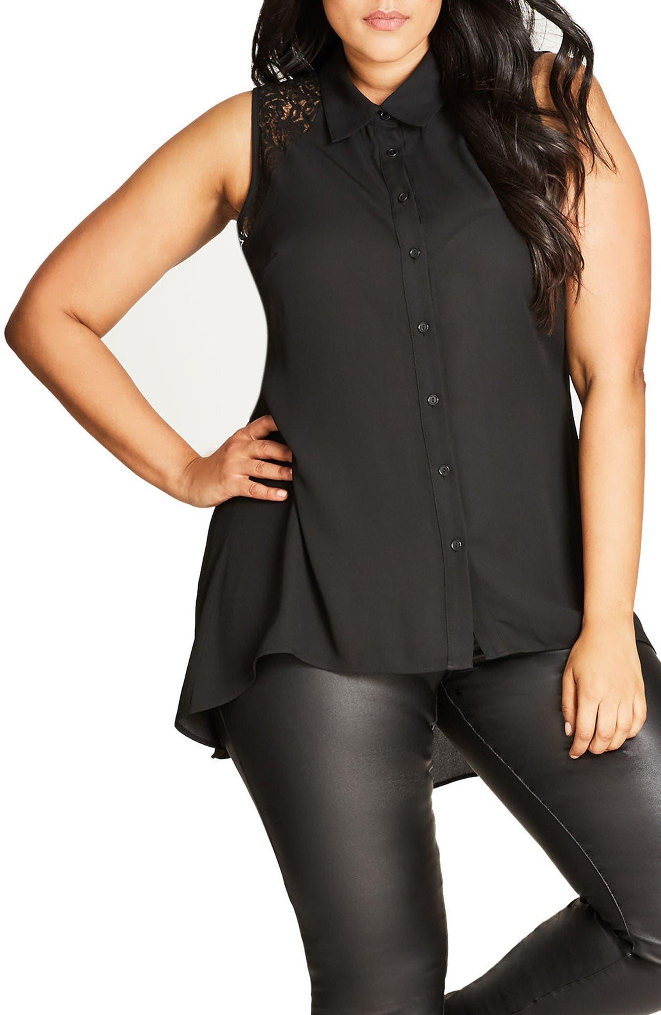 City Chic Flirty Lace Shirt (Plus Size)