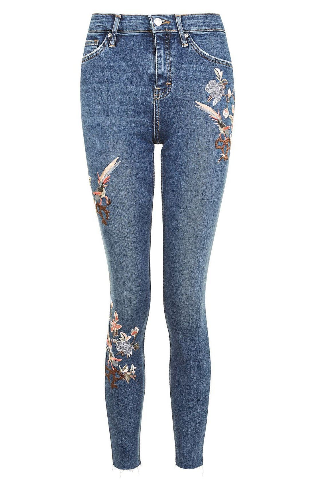 Alternate Image 4  - Topshop Moto Jamie Embroidered Skinny Jeans