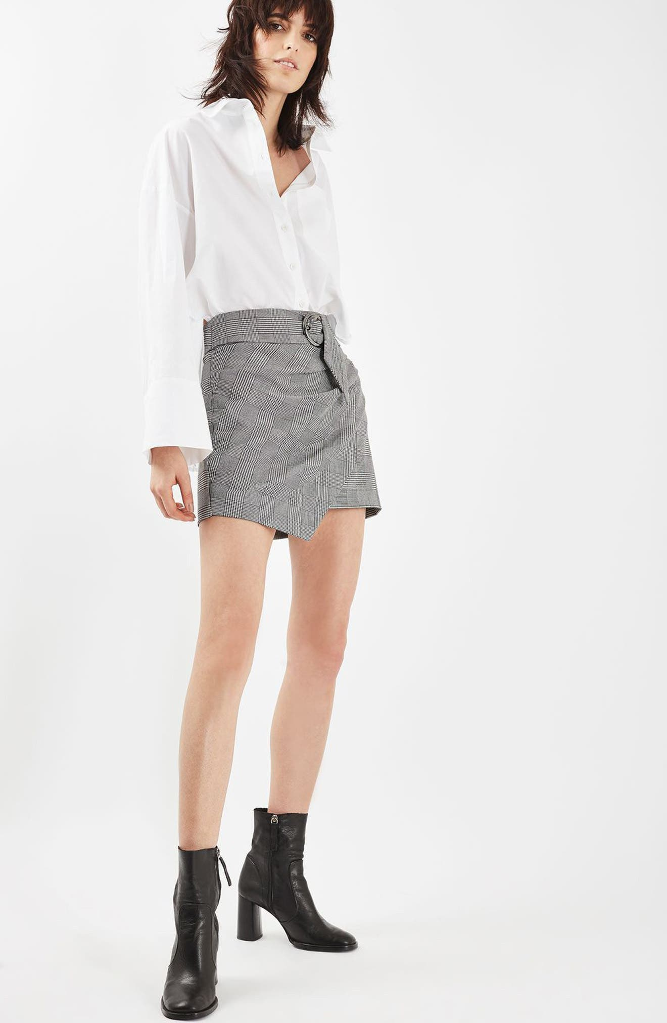 Alternate Image 2  - Topshop Belted Glen Plaid Miniskirt