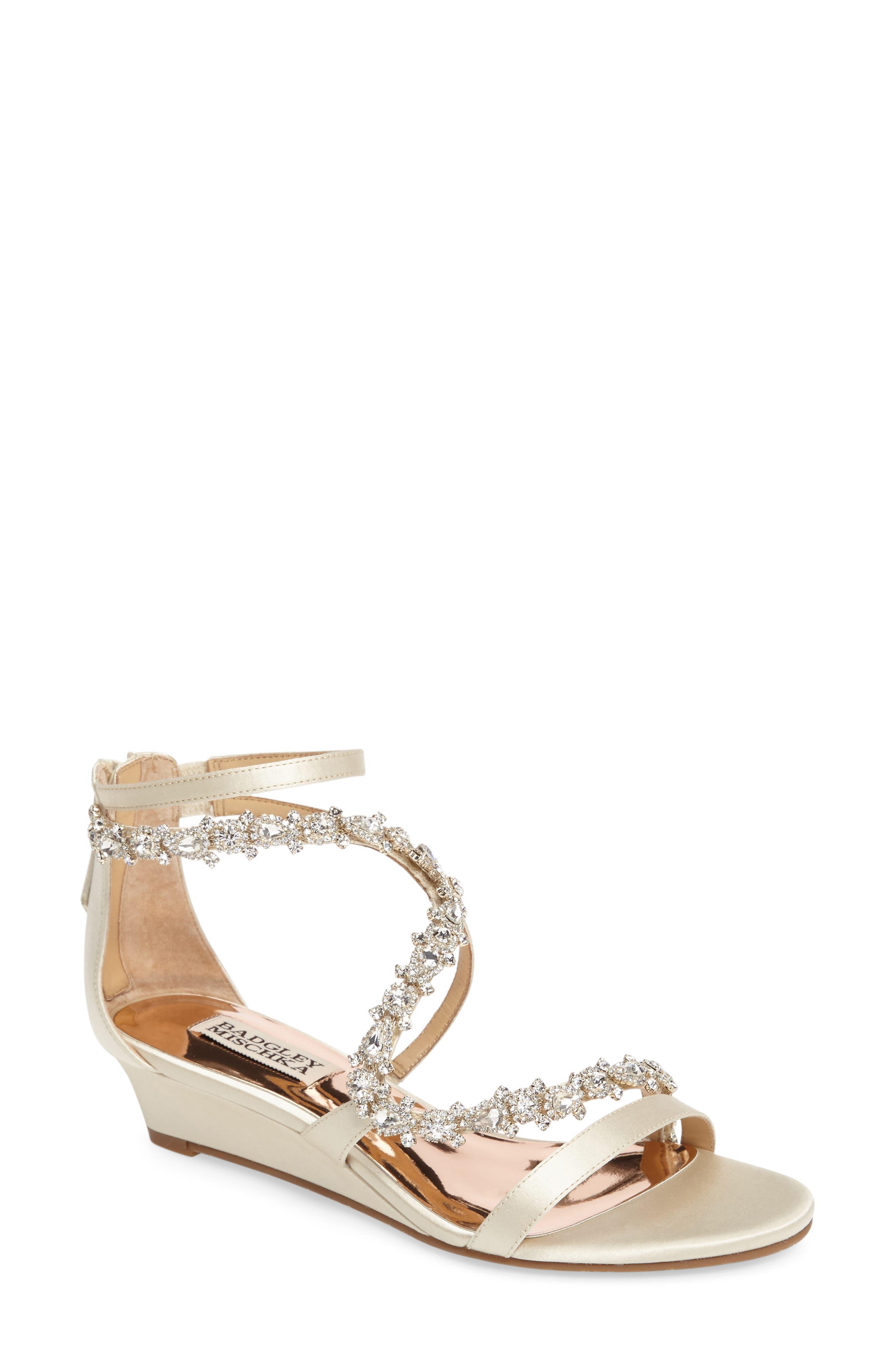 Badgley Mischka Belvedere Embellished Wedge Sandal (Women)