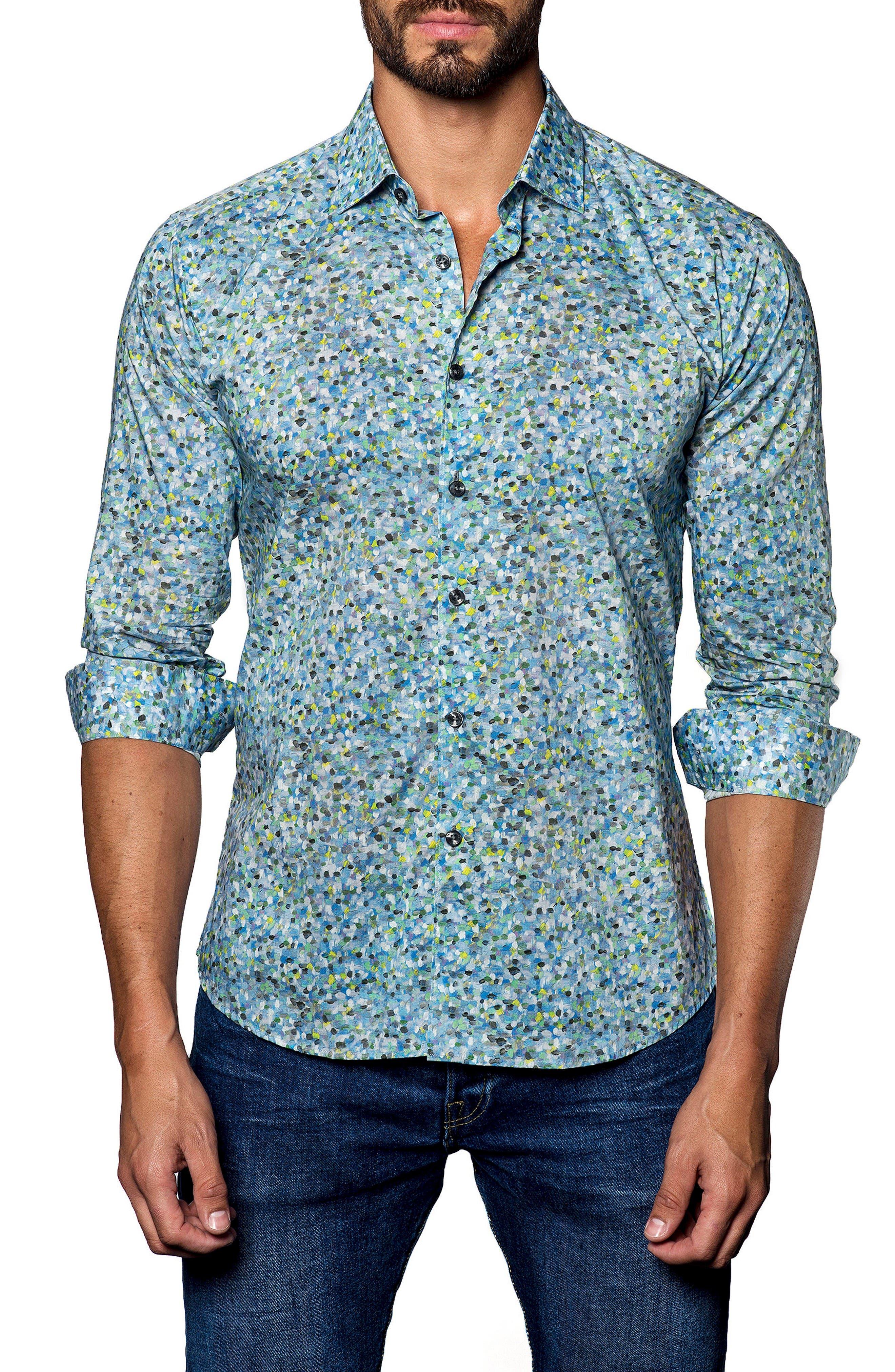 JARED LANG Speckle Print Sport Shirt