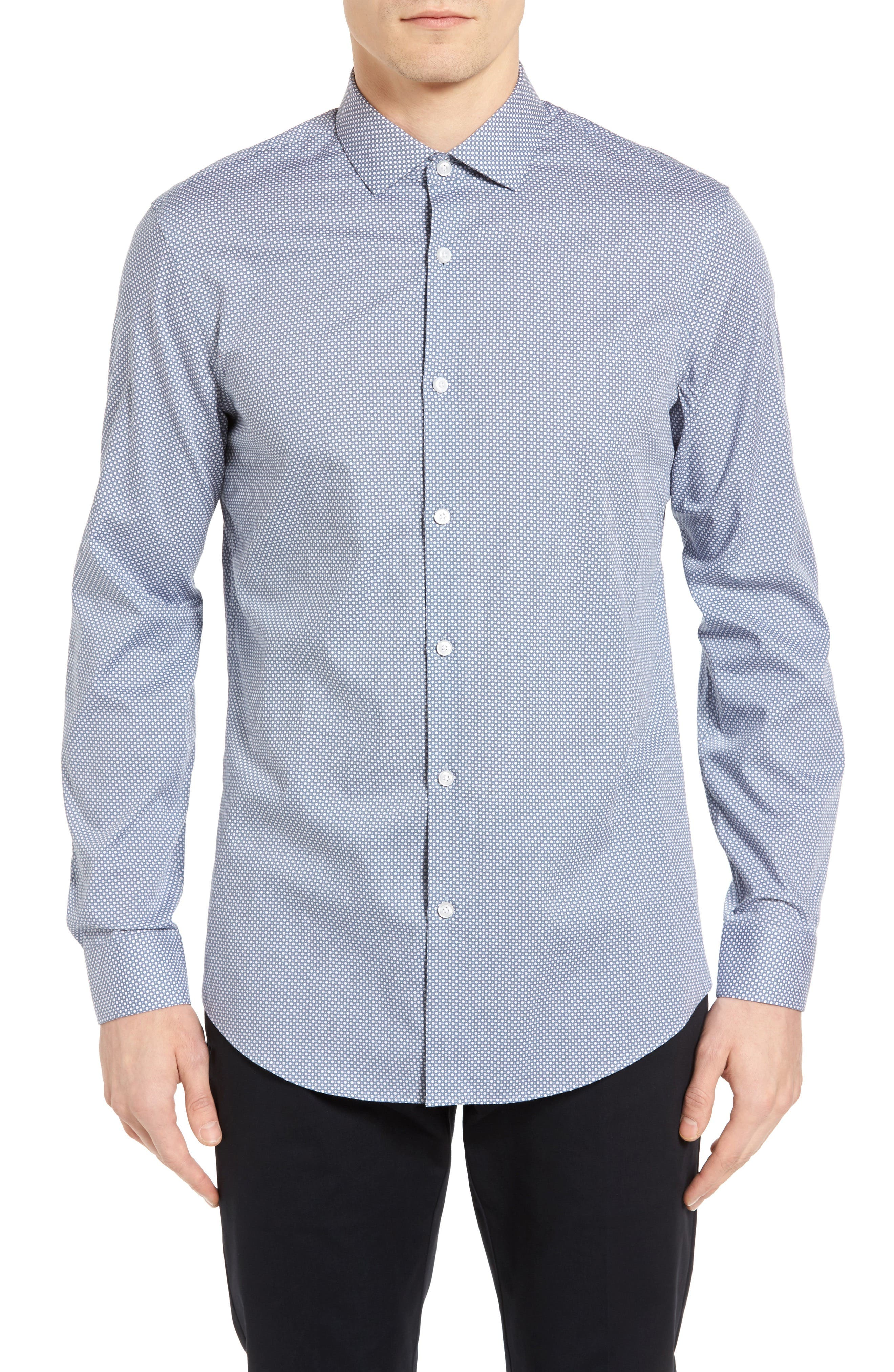 Calibrate Slim Fit Non Iron Print Sport Shirt
