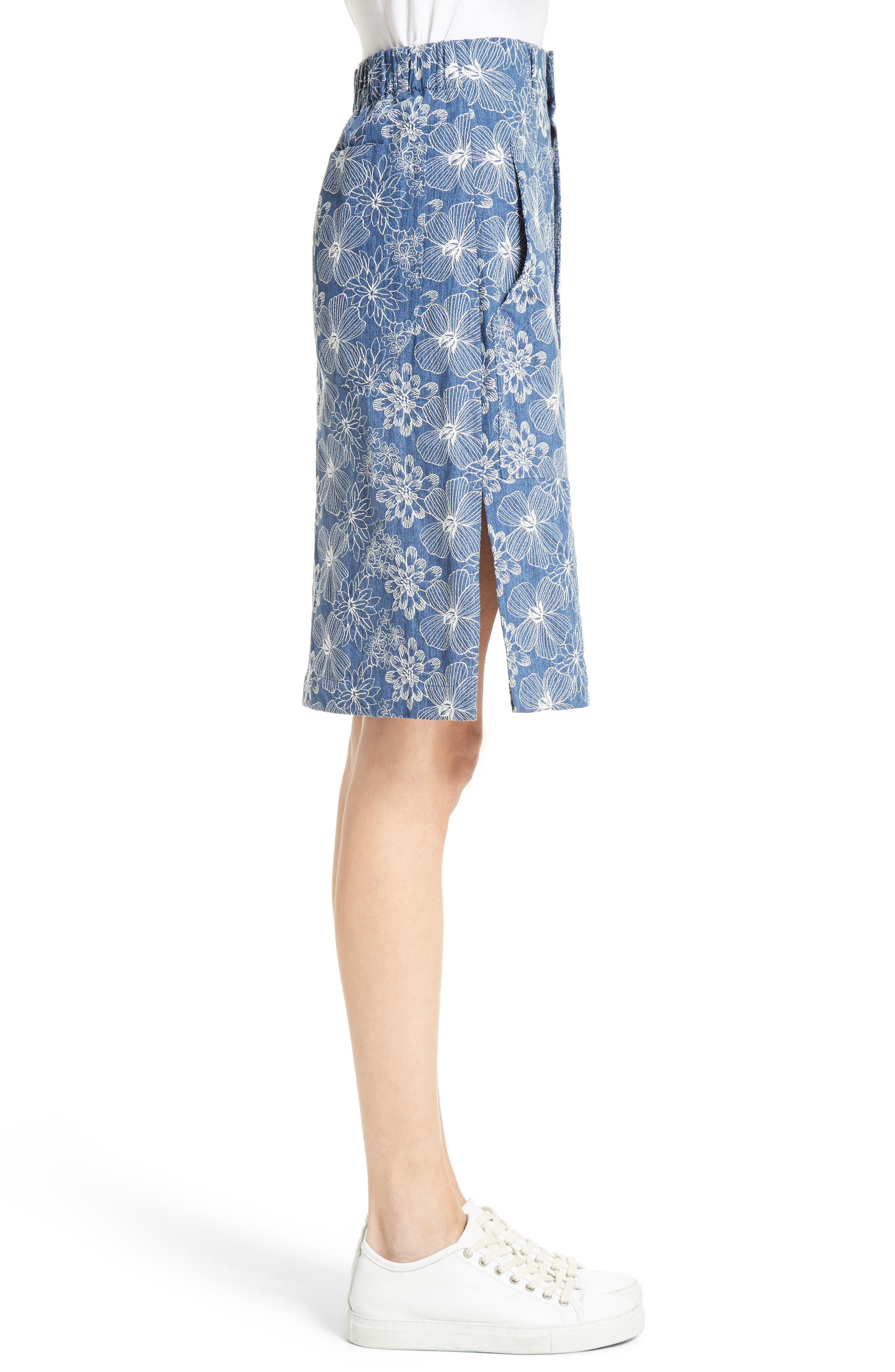 Alternate Image 5  - Julien David Floral Embroidered Cotton Skirt