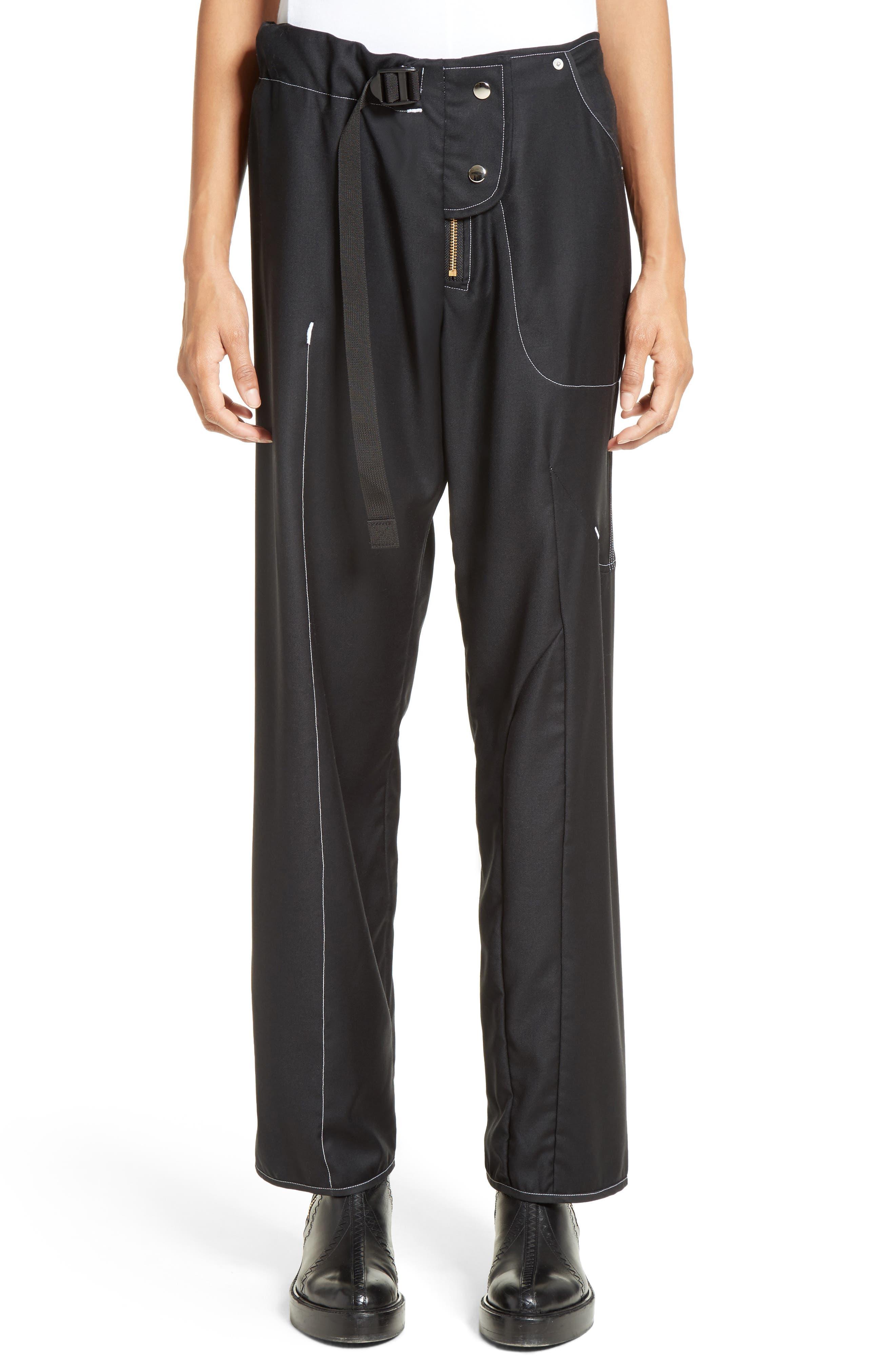 VEJAS Asymmetrical Wool Gabardine Trousers