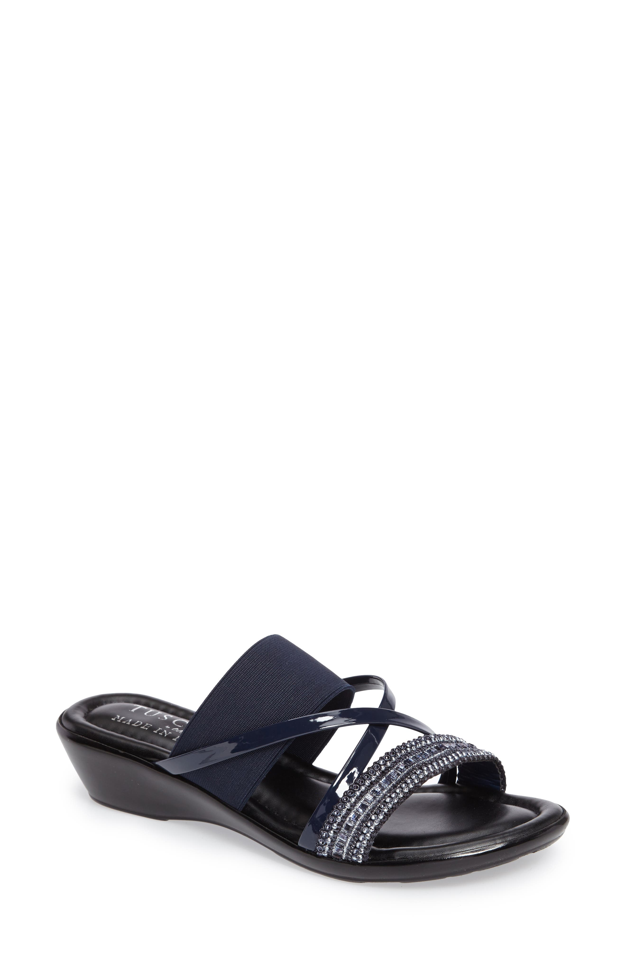 TUSCANY by Easy Street® Velino Crystal Embellished Strappy Wedge Sandal (Women)