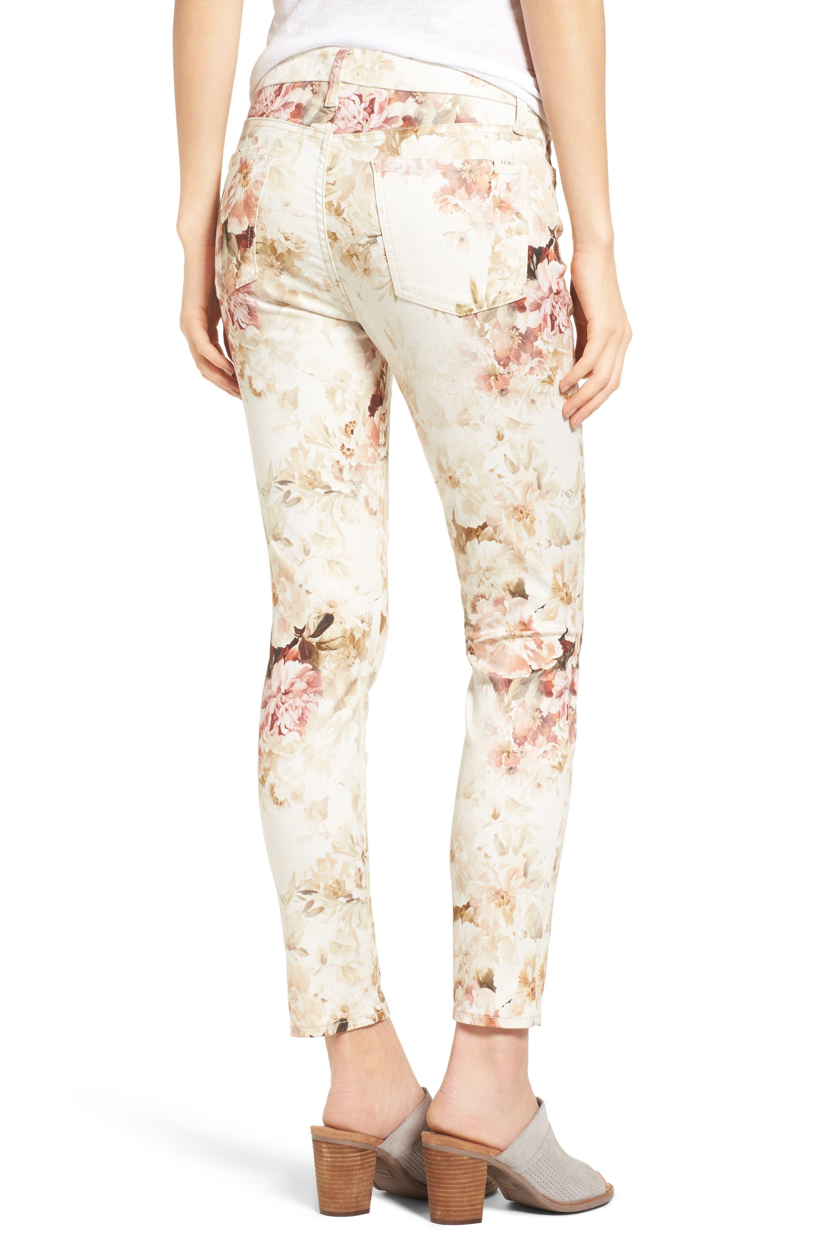 Alternate Image 2  - Jen7 Floral Print Stretch Ankle Skinny Jeans (Vintage Garden)