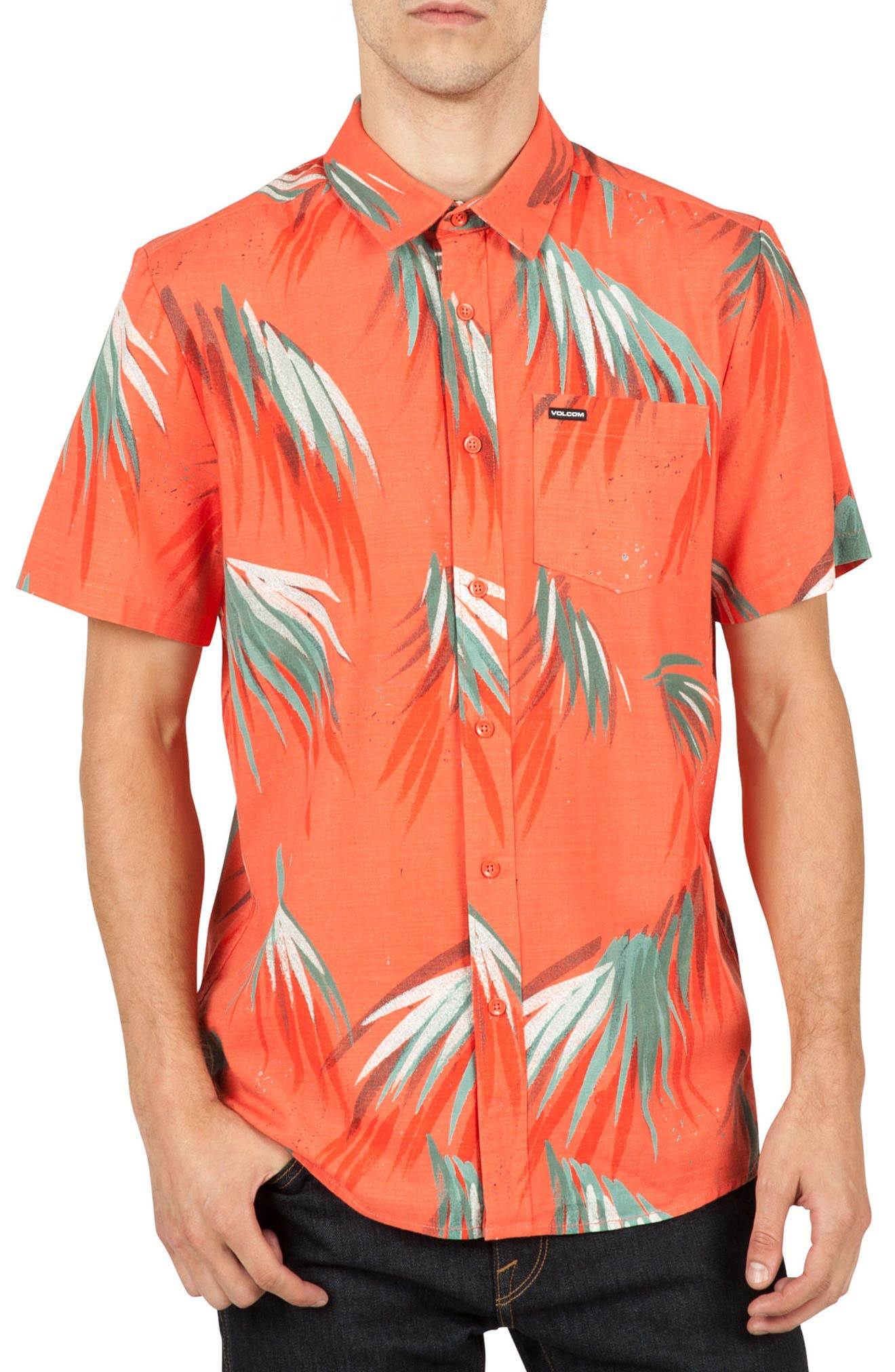 Volcom Maui Palm Cotton Blend Woven Shirt