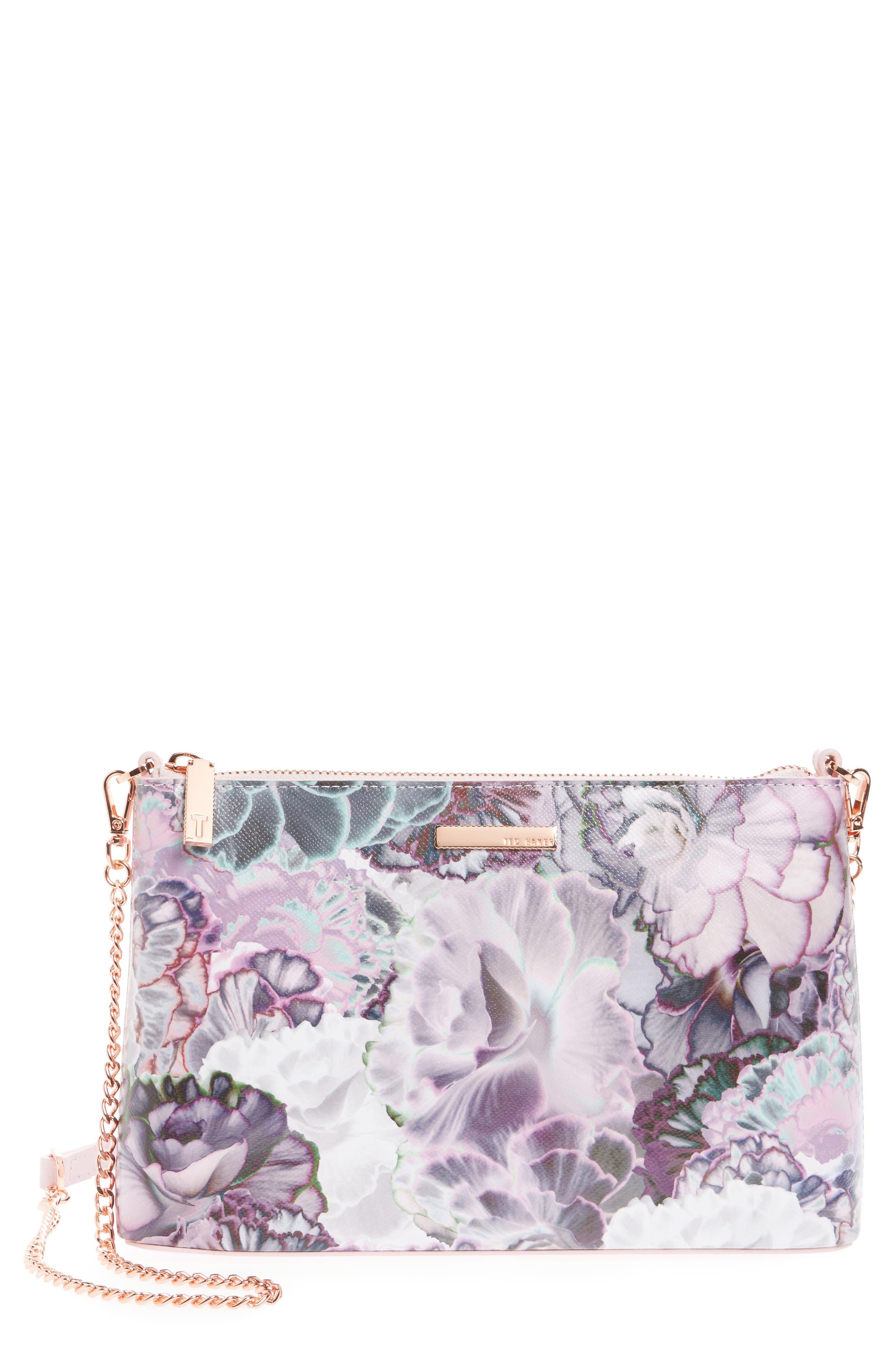 Main Image - Ted Baker London Illuminated Bloom Leather Crossbody Bag