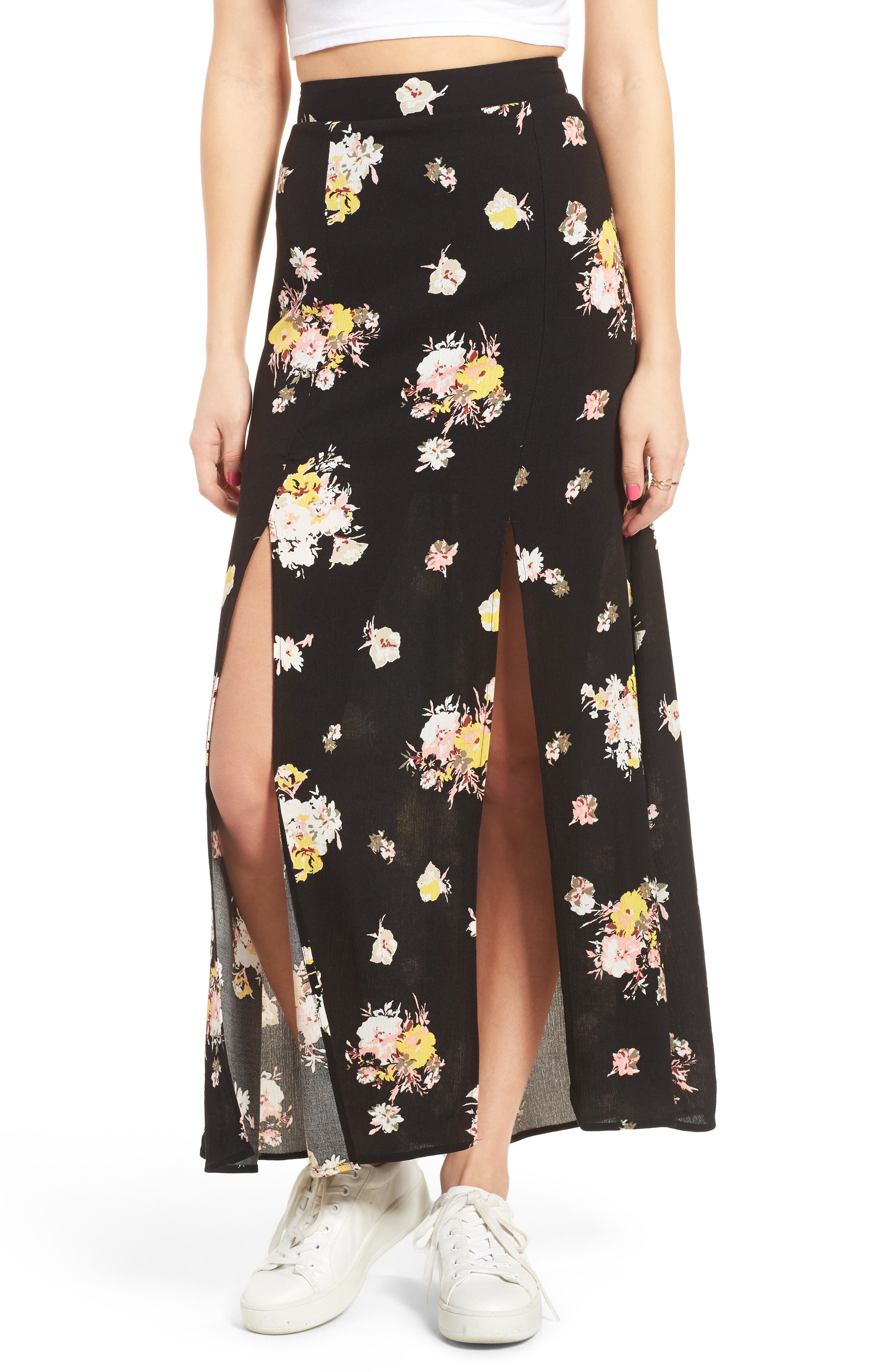 Main Image - Love, Fire Coordinating Floral Maxi Skirt