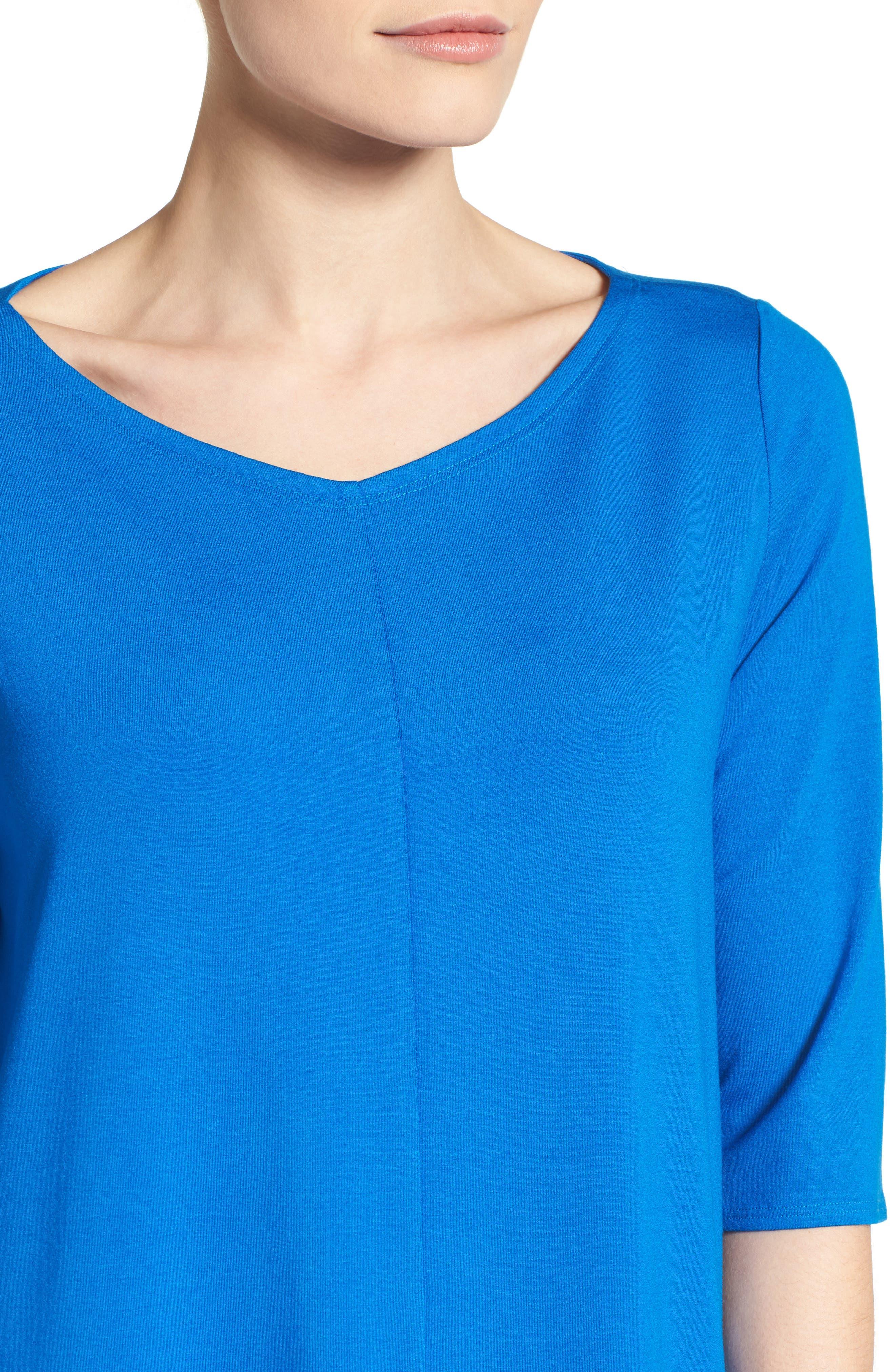 Alternate Image 4  - Eileen Fisher V-Neck Jersey Shift Dress (Regular & Petite)