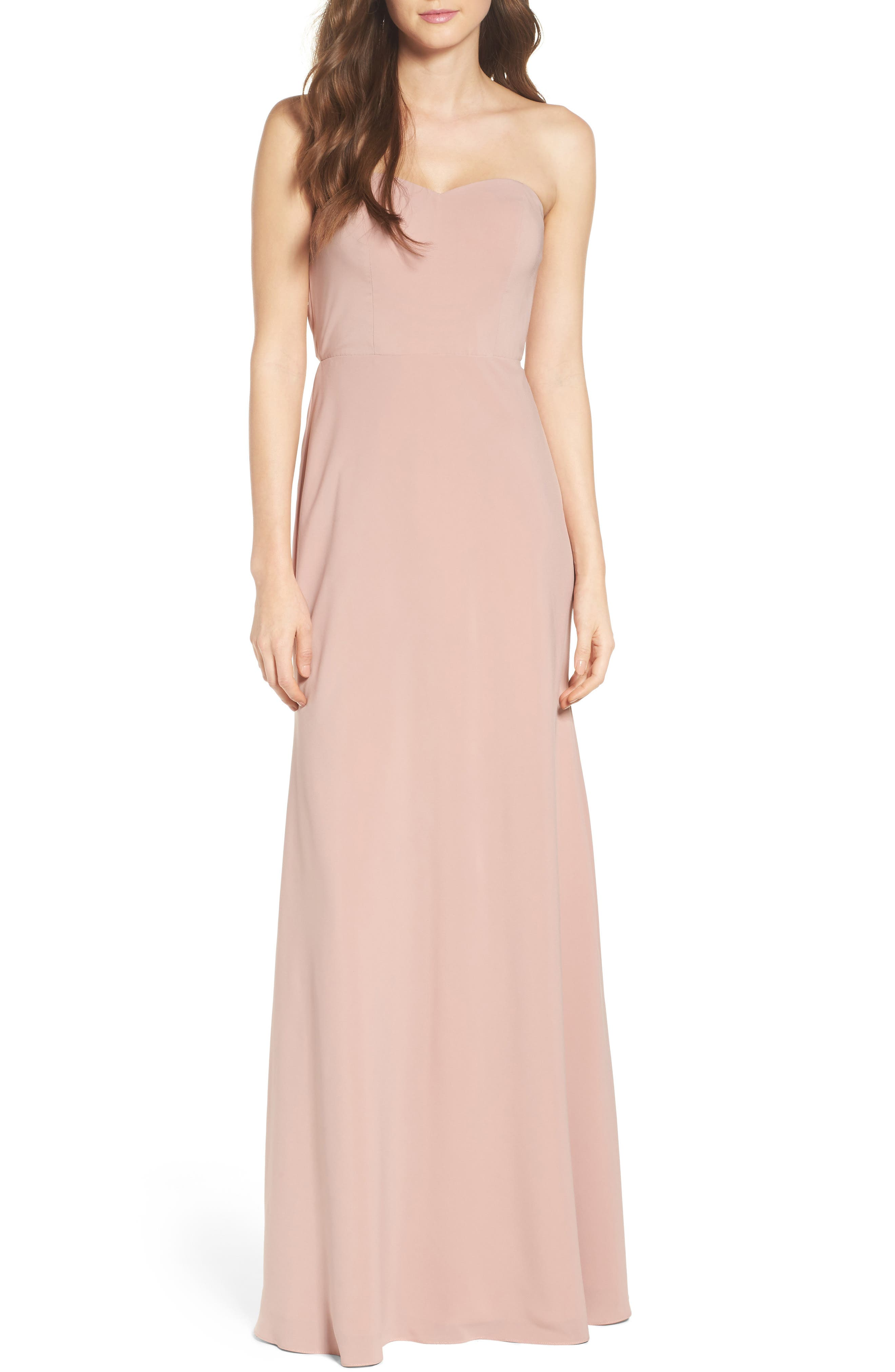 Jenny Yoo Kylie Tie Back Strapless Gown
