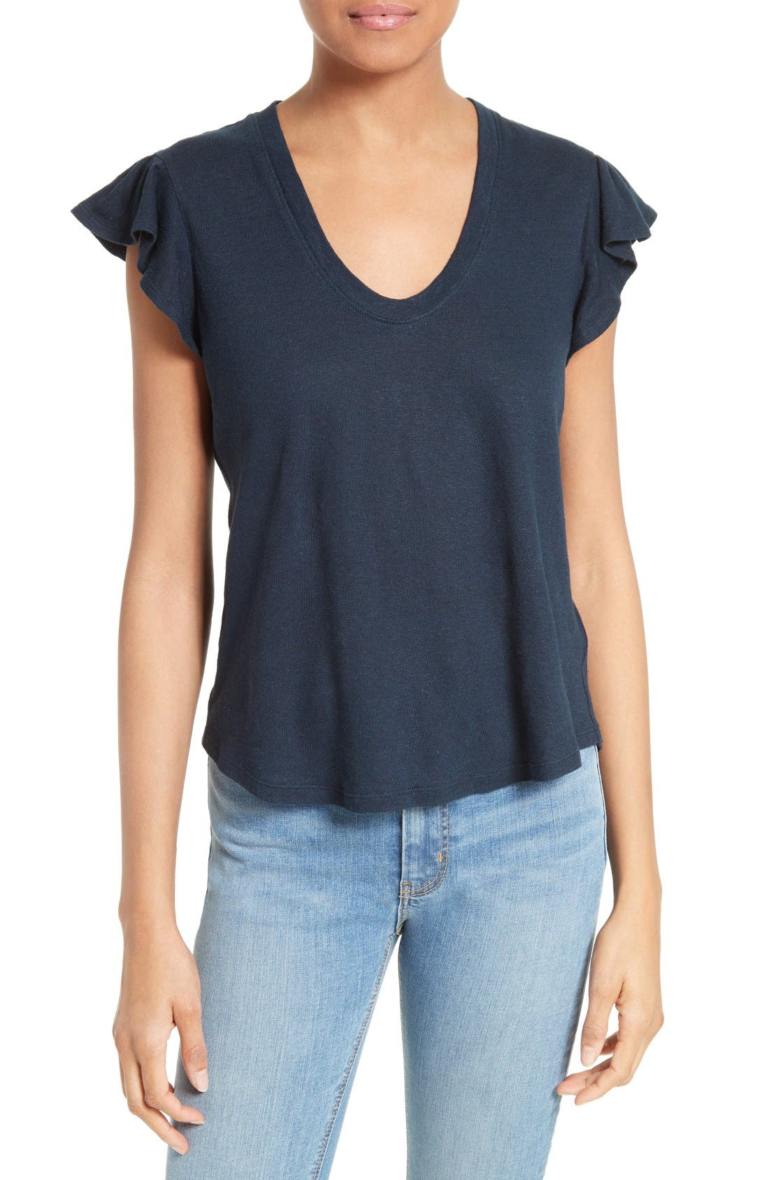LA VIE REBECCA TAYLOR Washed Texture Jersey Tee