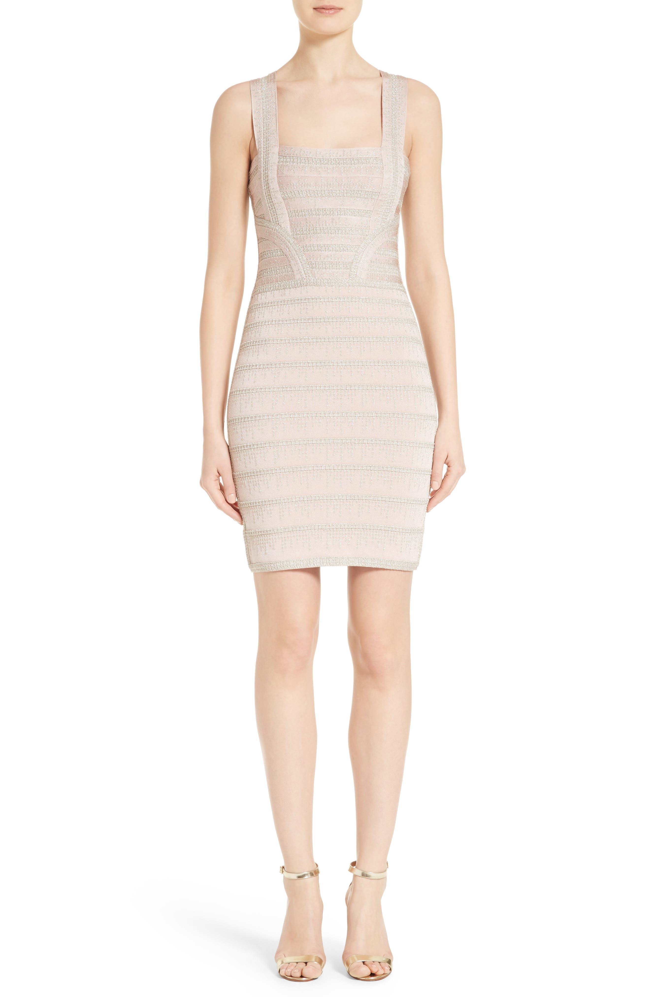 HERVE LEGER Foil Knit Bandage Dress