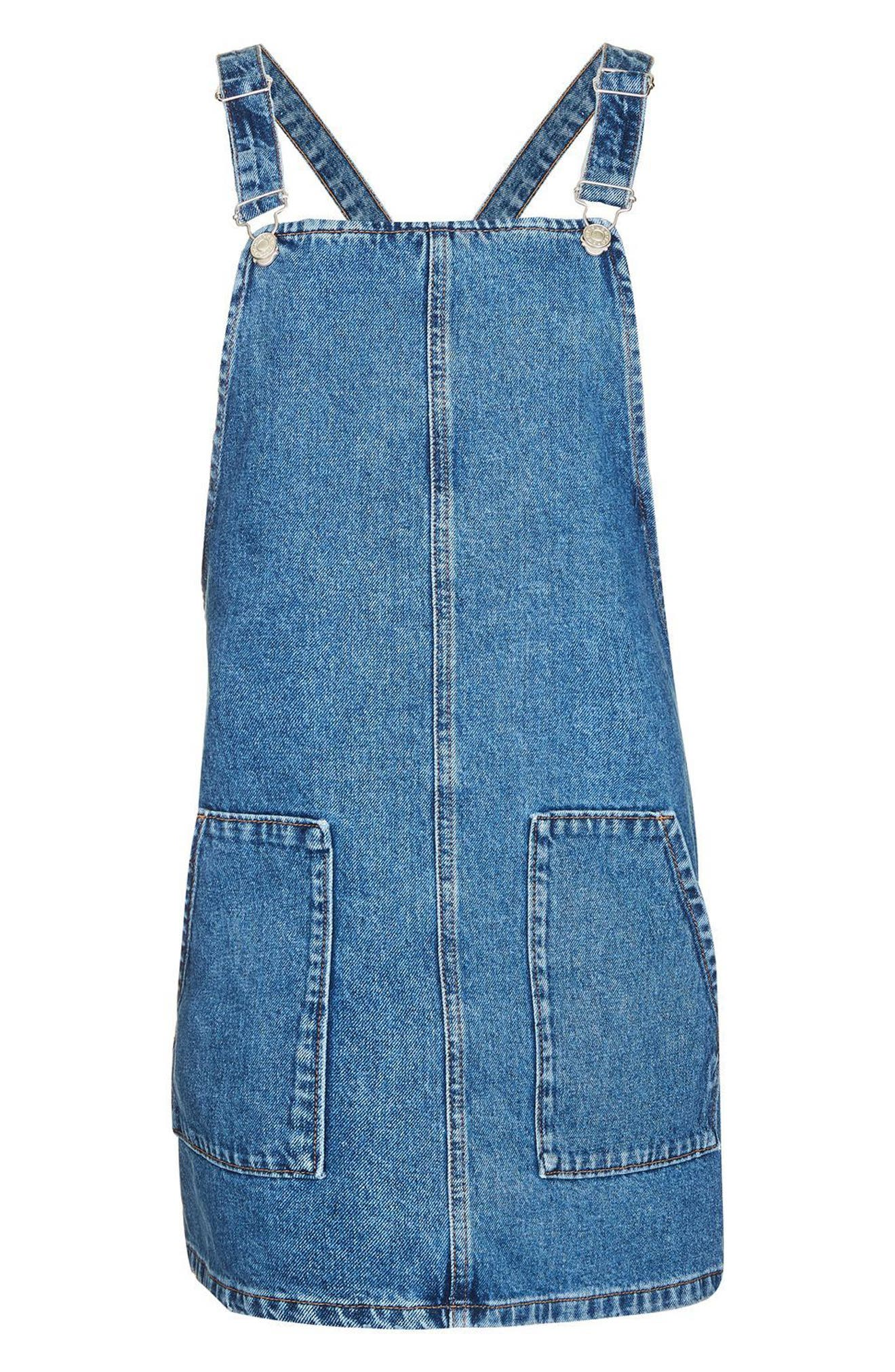 Alternate Image 4  - Topshop Denim Pinafore Dress (Regular & Petite)