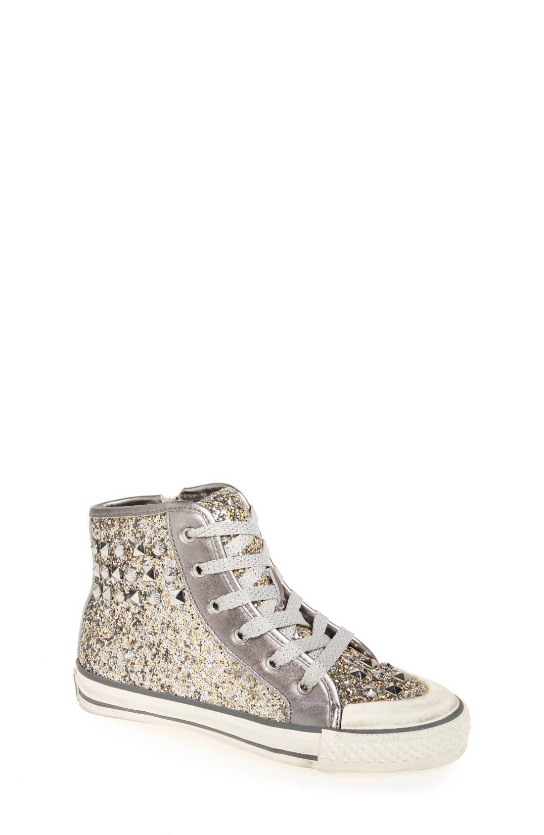 ASH 'Lita Monroe' Studded Glitter High Top Sneaker