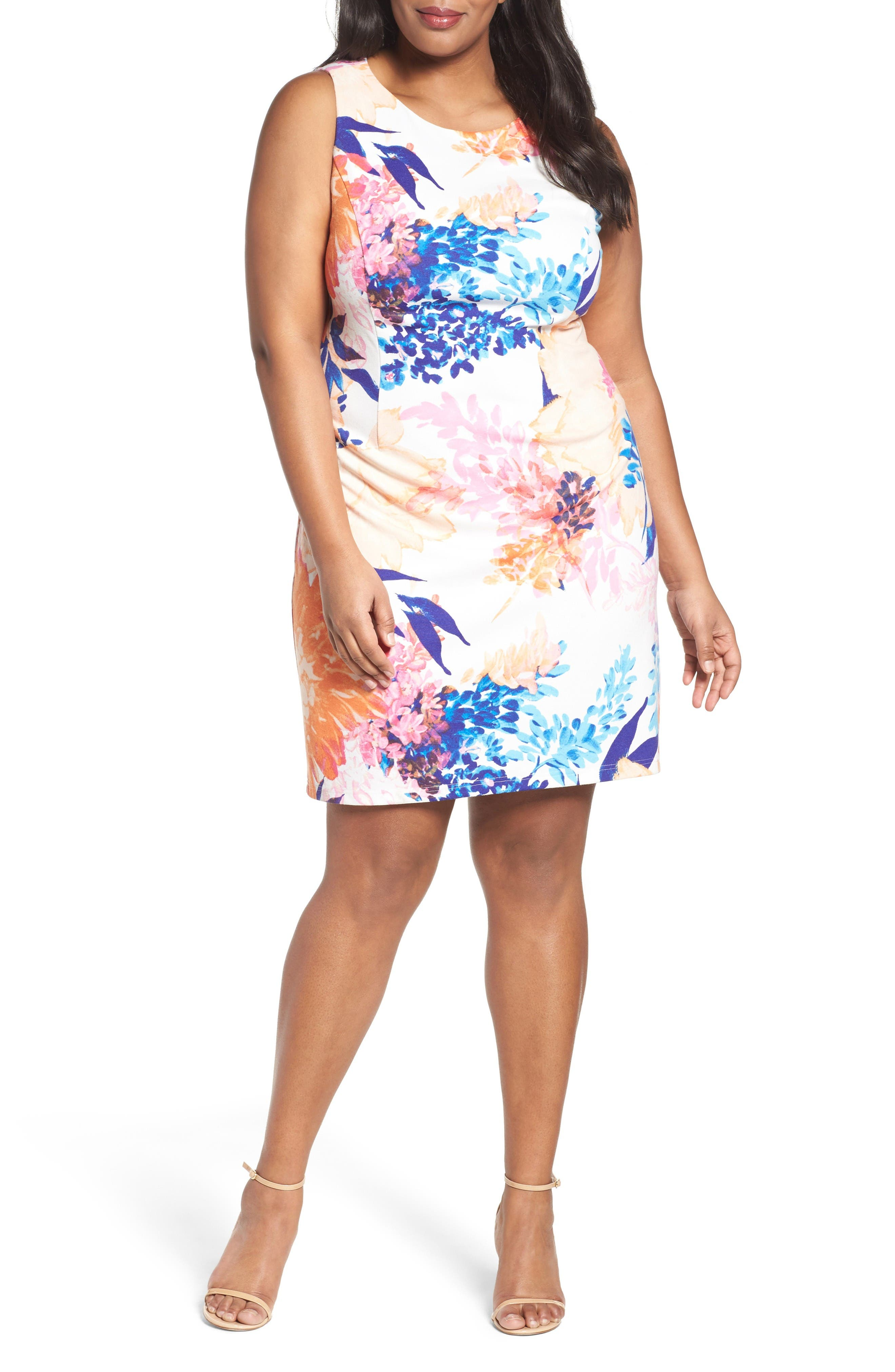 Ellen Tracy Floral Ponte Sheath Dress (Plus Size)