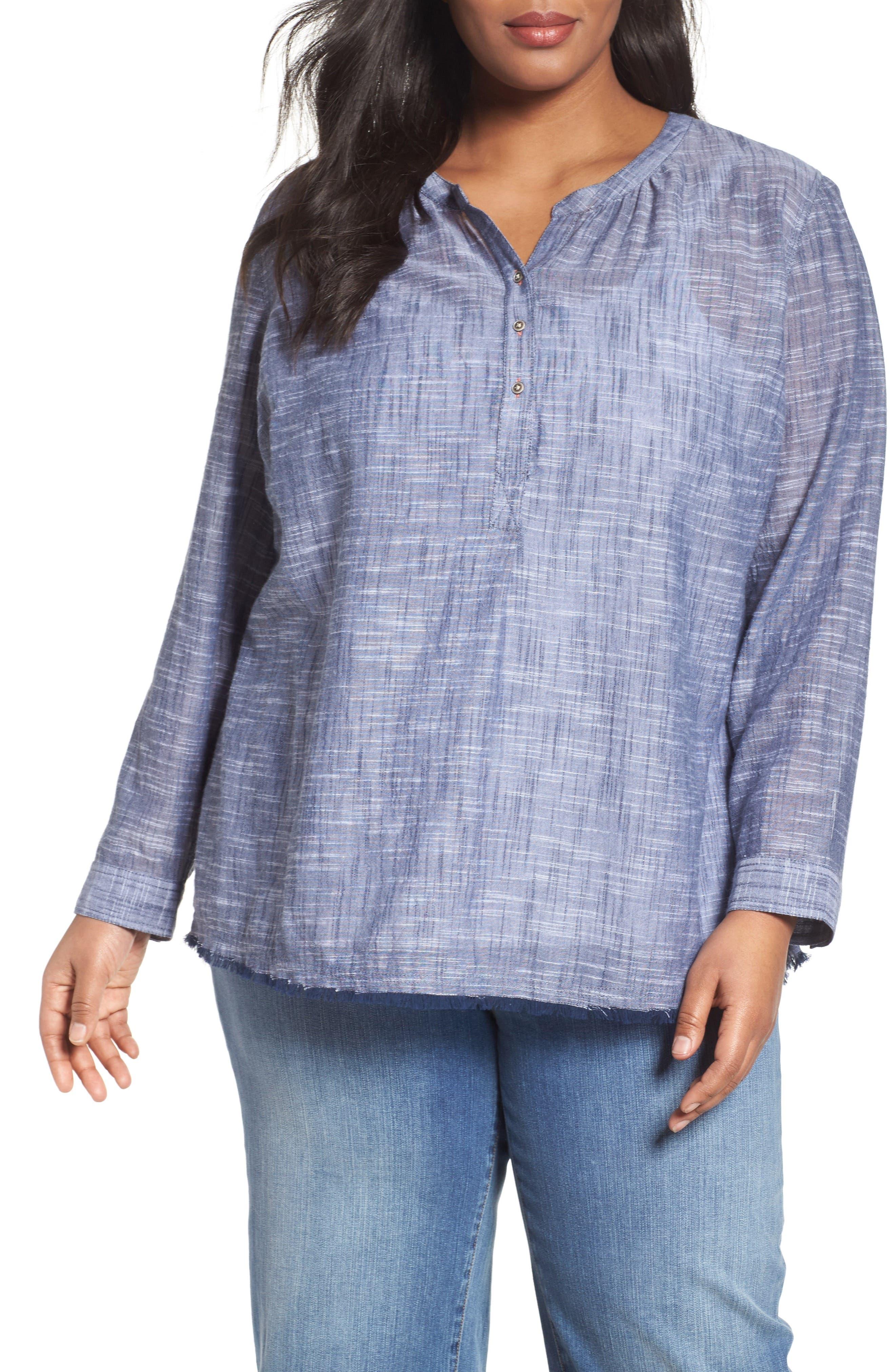 Caslon® Fringe Hem Cotton Tunic (Plus Size)
