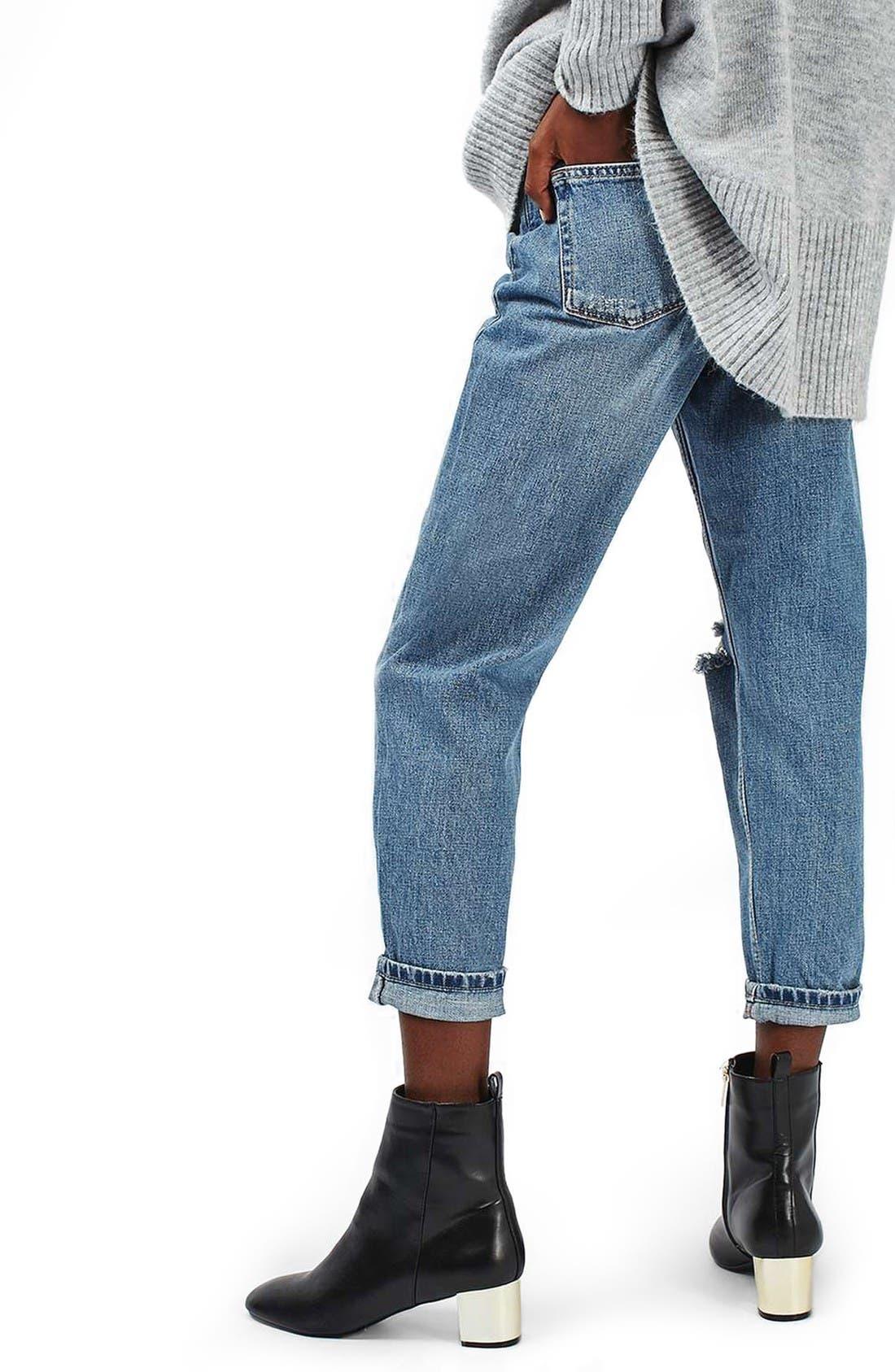 Alternate Image 3  - Topshop Ripped Mom Jeans (Petite)