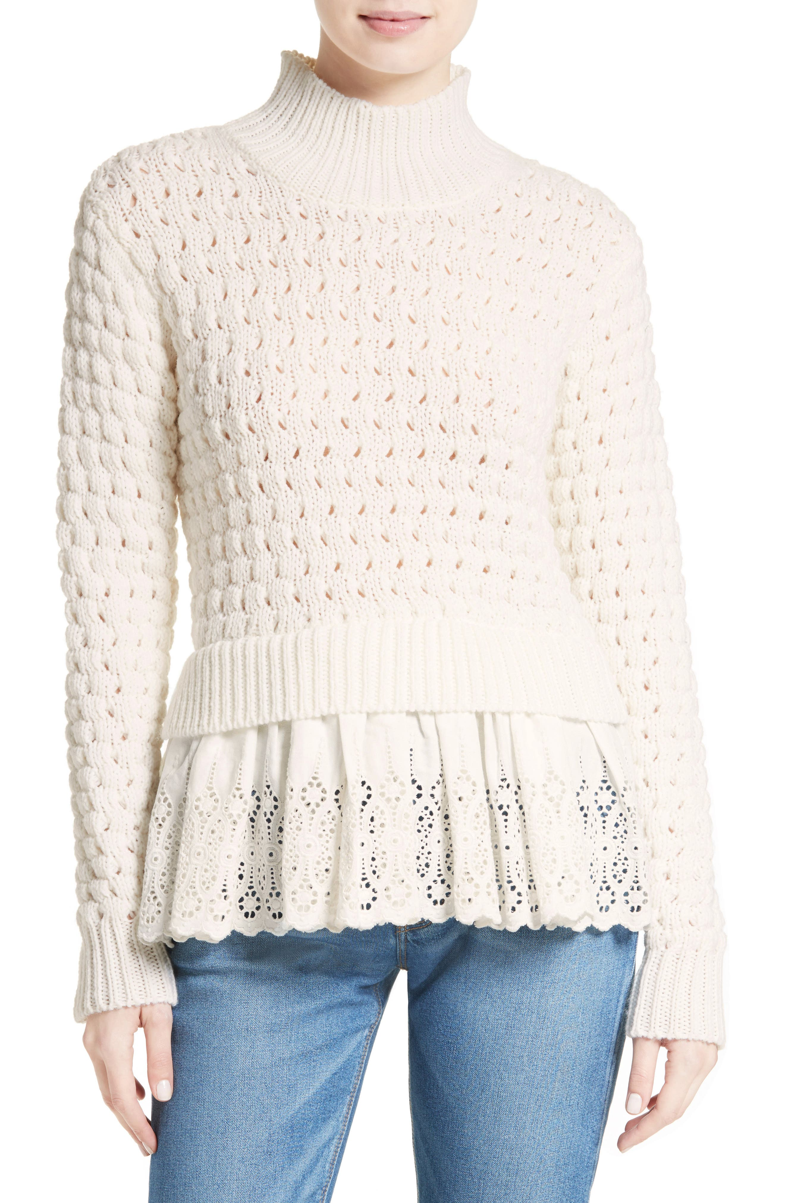 Alternate Image 1 Selected - Rebecca Taylor Eyelet Mock Neck Sweater