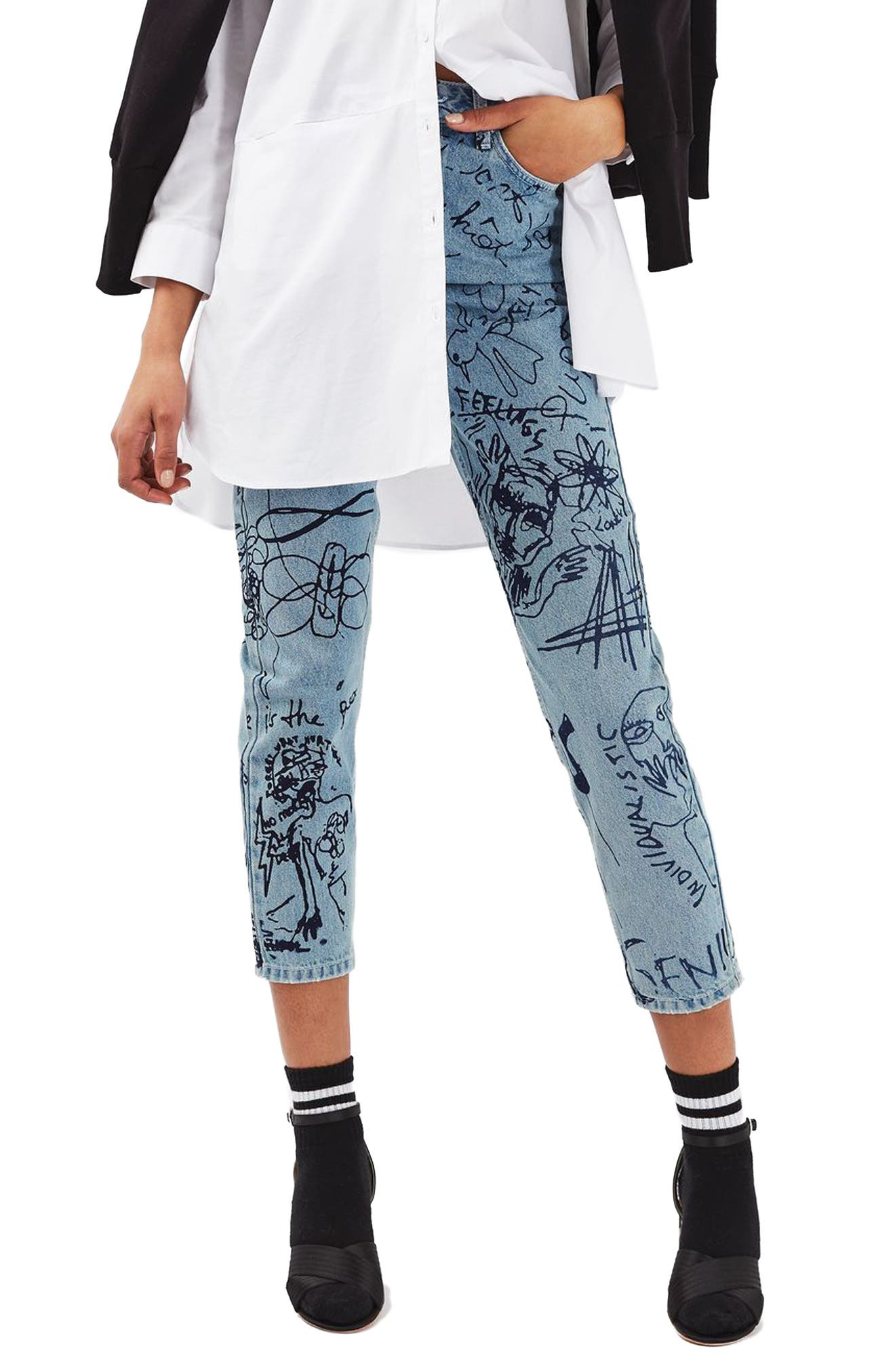 Alternate Image 1 Selected - Topshop Scribble Crop Mom Jeans