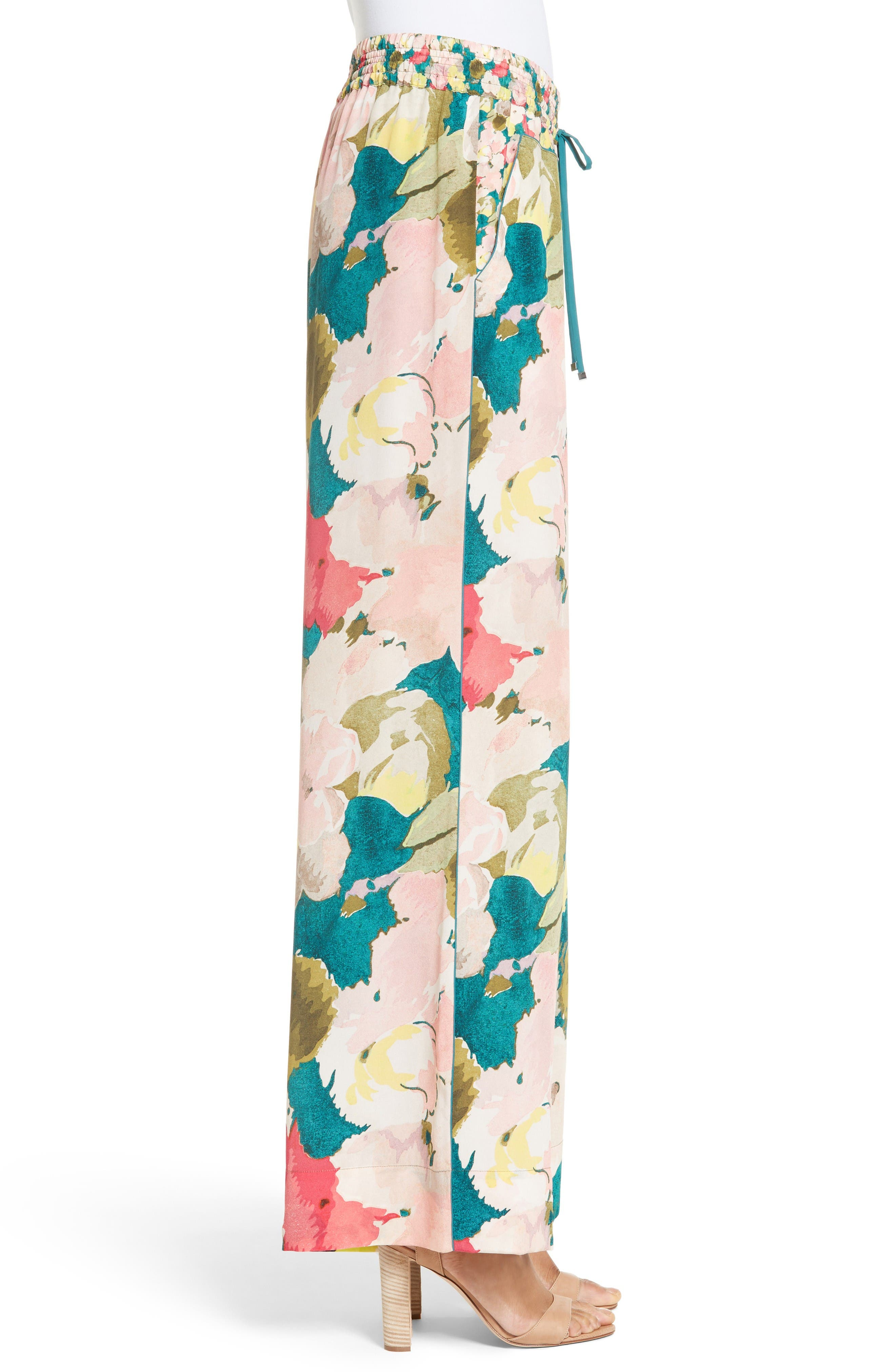 Alternate Image 5  - Lafayette 148 New York Floral Silk Drawstring Pants
