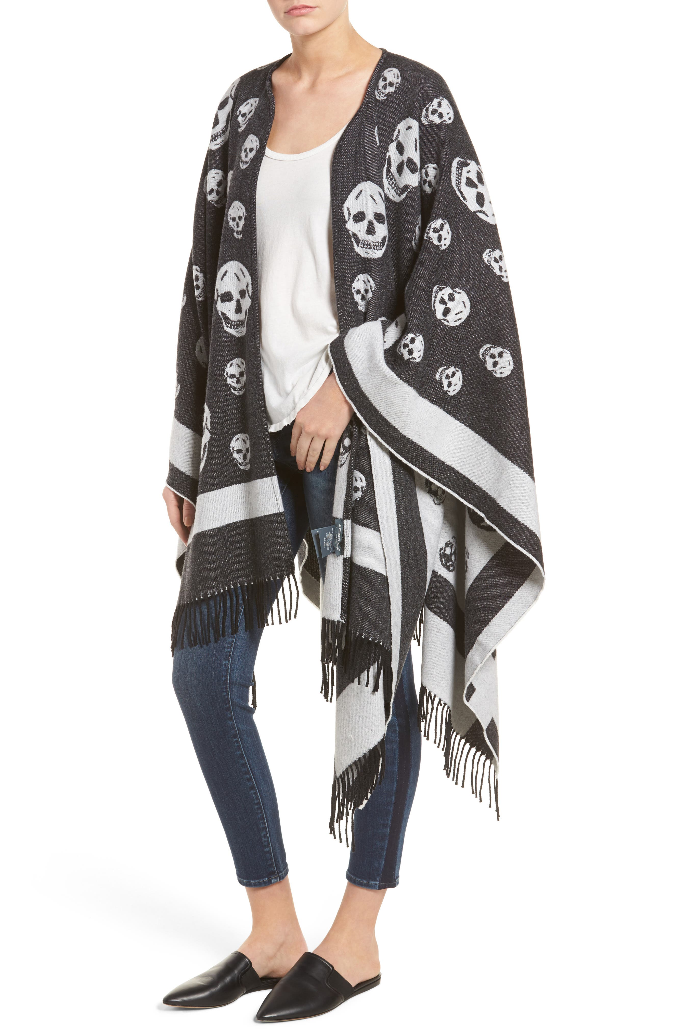 Alexander McQueen 'Big Skull' Wool & Cashmere Jacquard Poncho