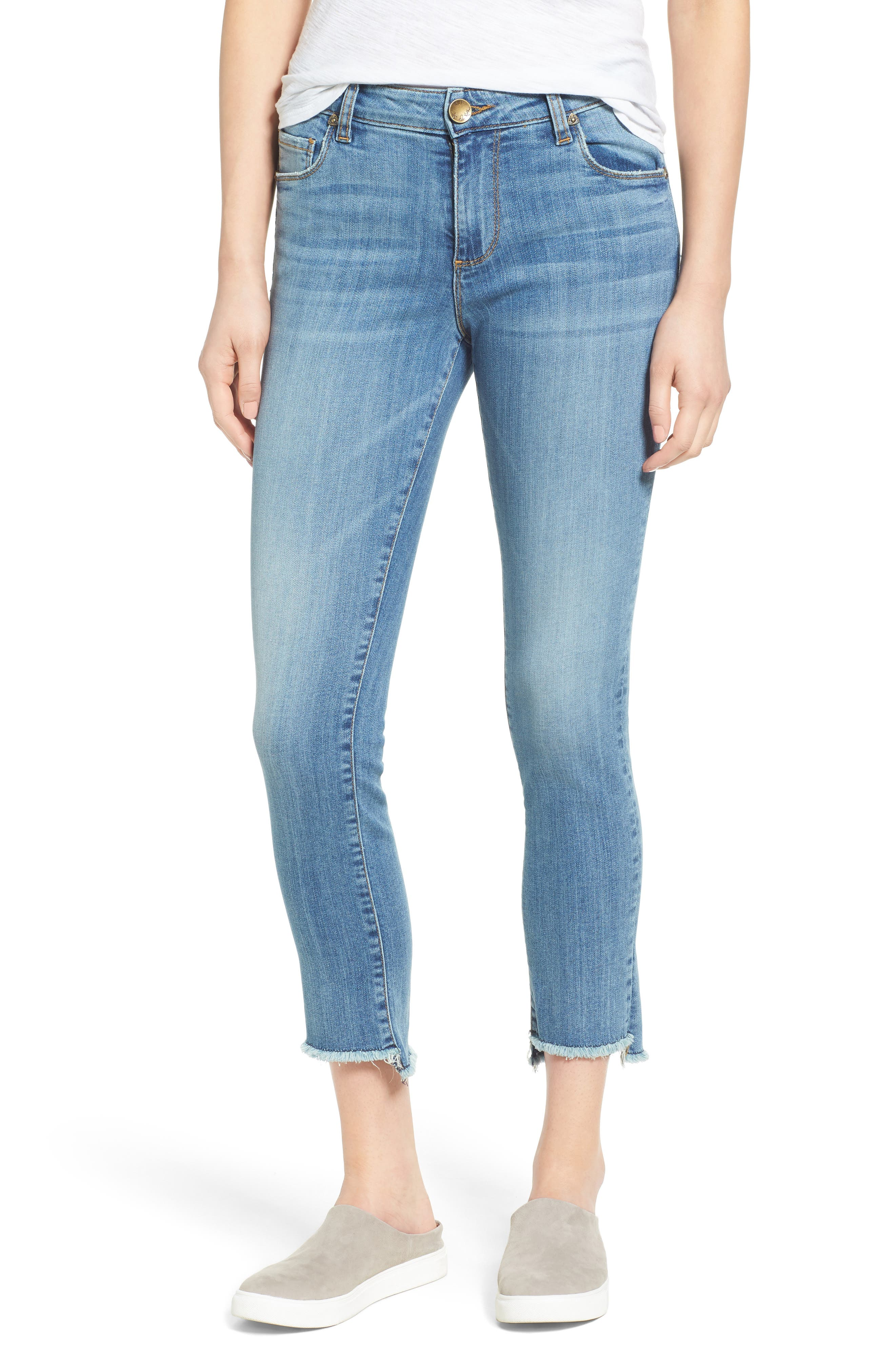 Alternate Image 1 Selected - KUT from the Kloth Reese Frayed Straight Leg Ankle Jeans (Participation)