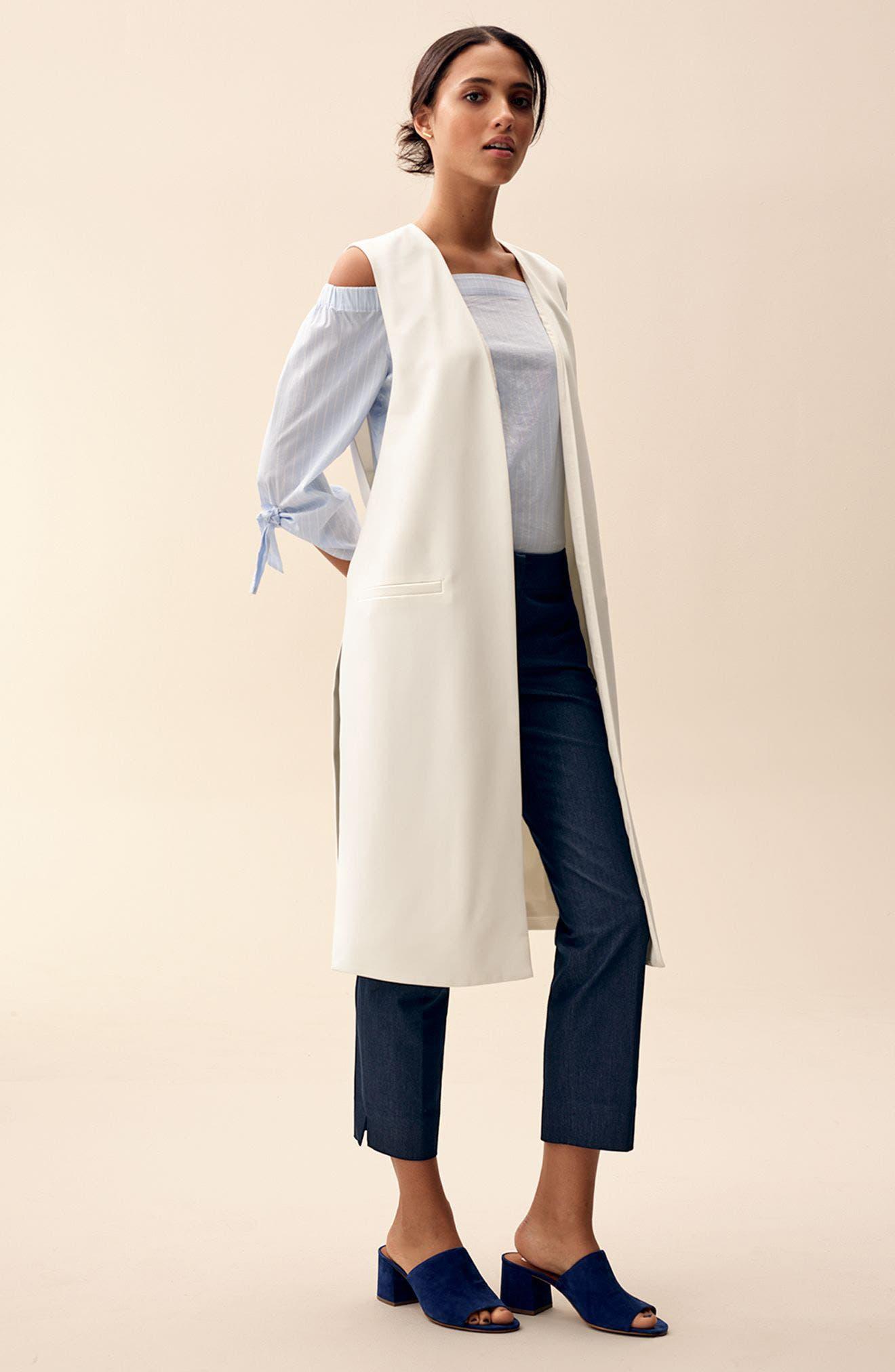 Alternate Image 2  - Halogen® Tie Sleeve Off the Shoulder Top (Regular & Petite)