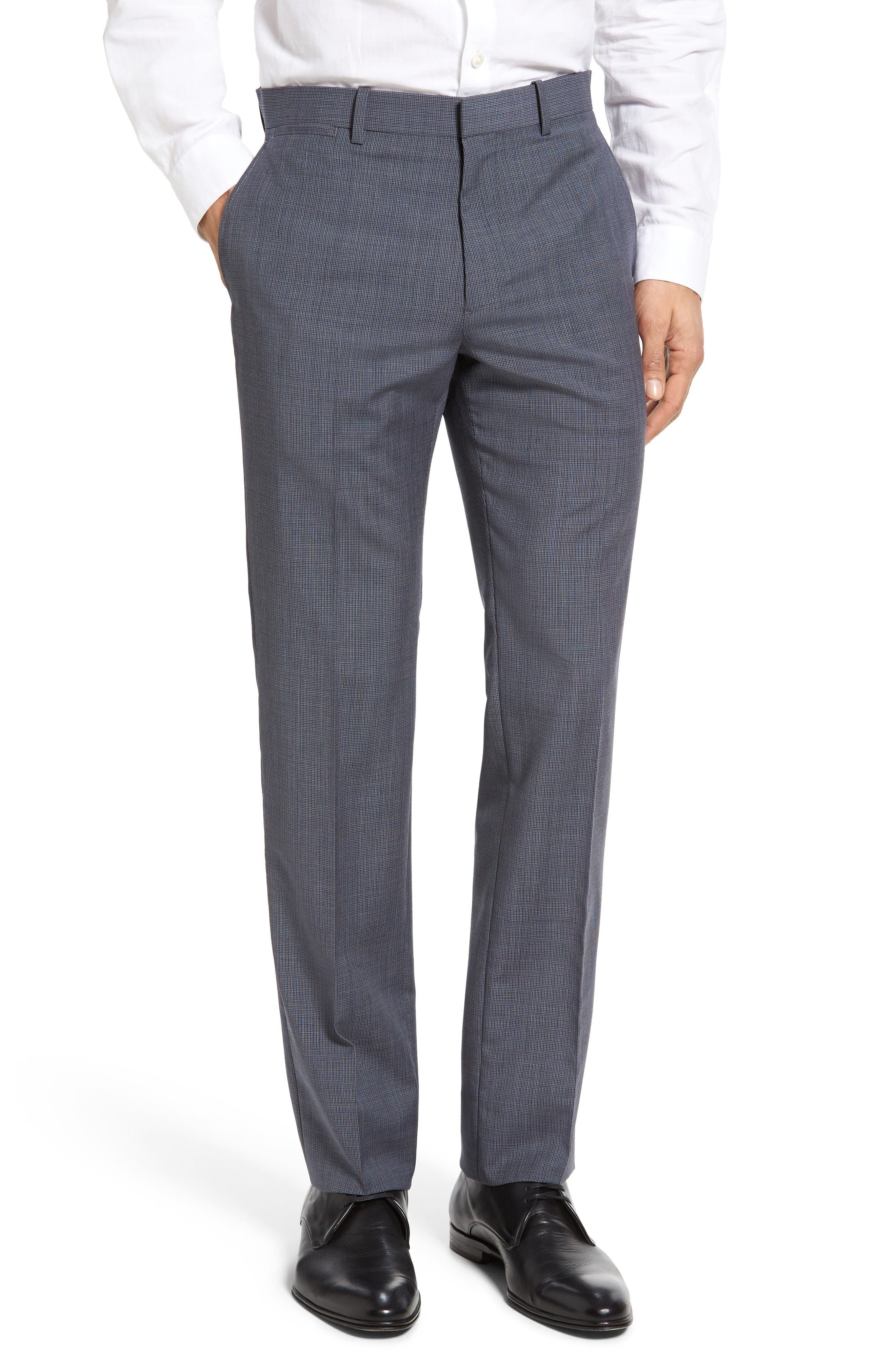 Theory Marlo Flat Front Check Wool Trousers