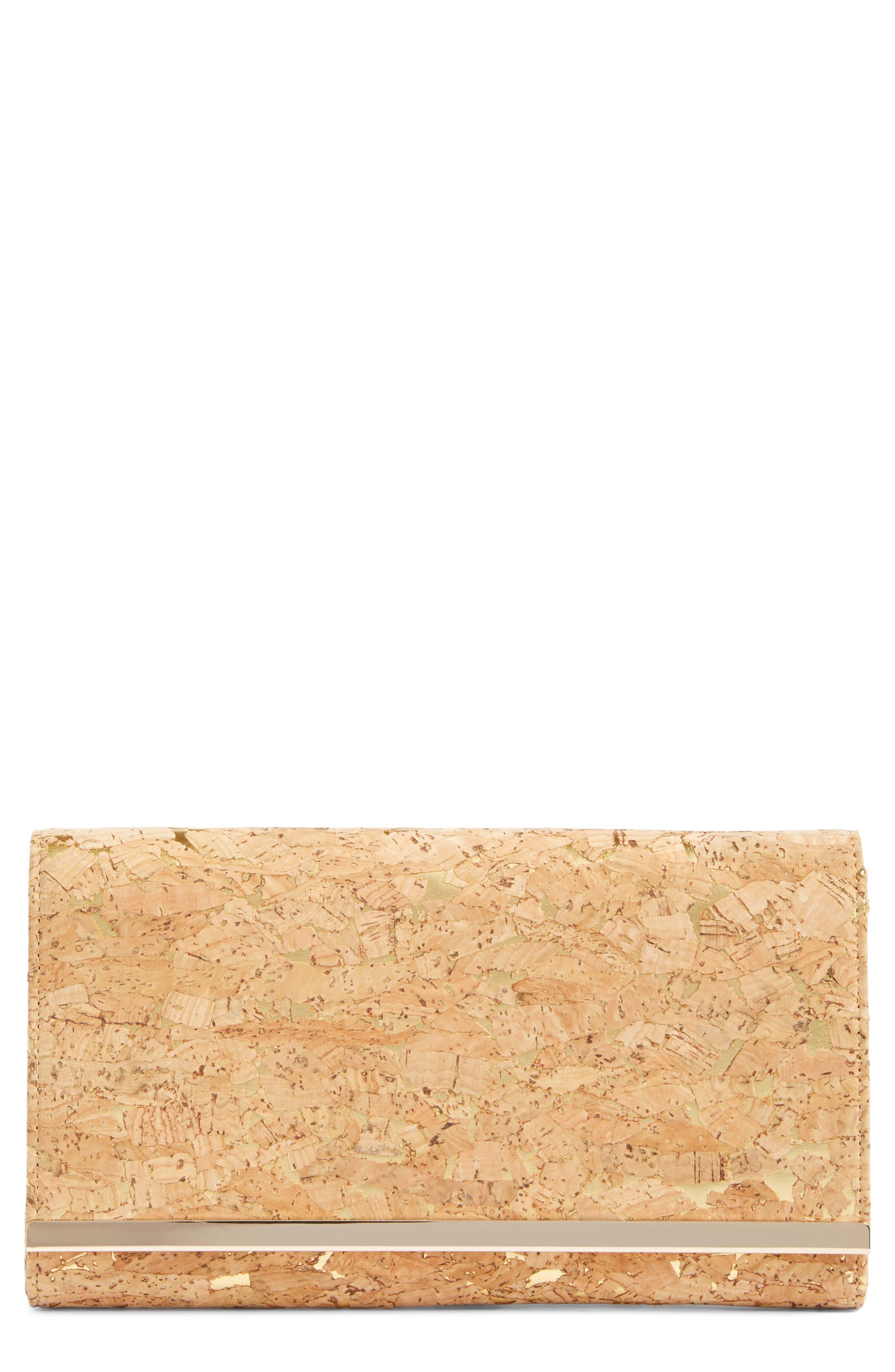 Glint Metallic Faux Cork Clutch