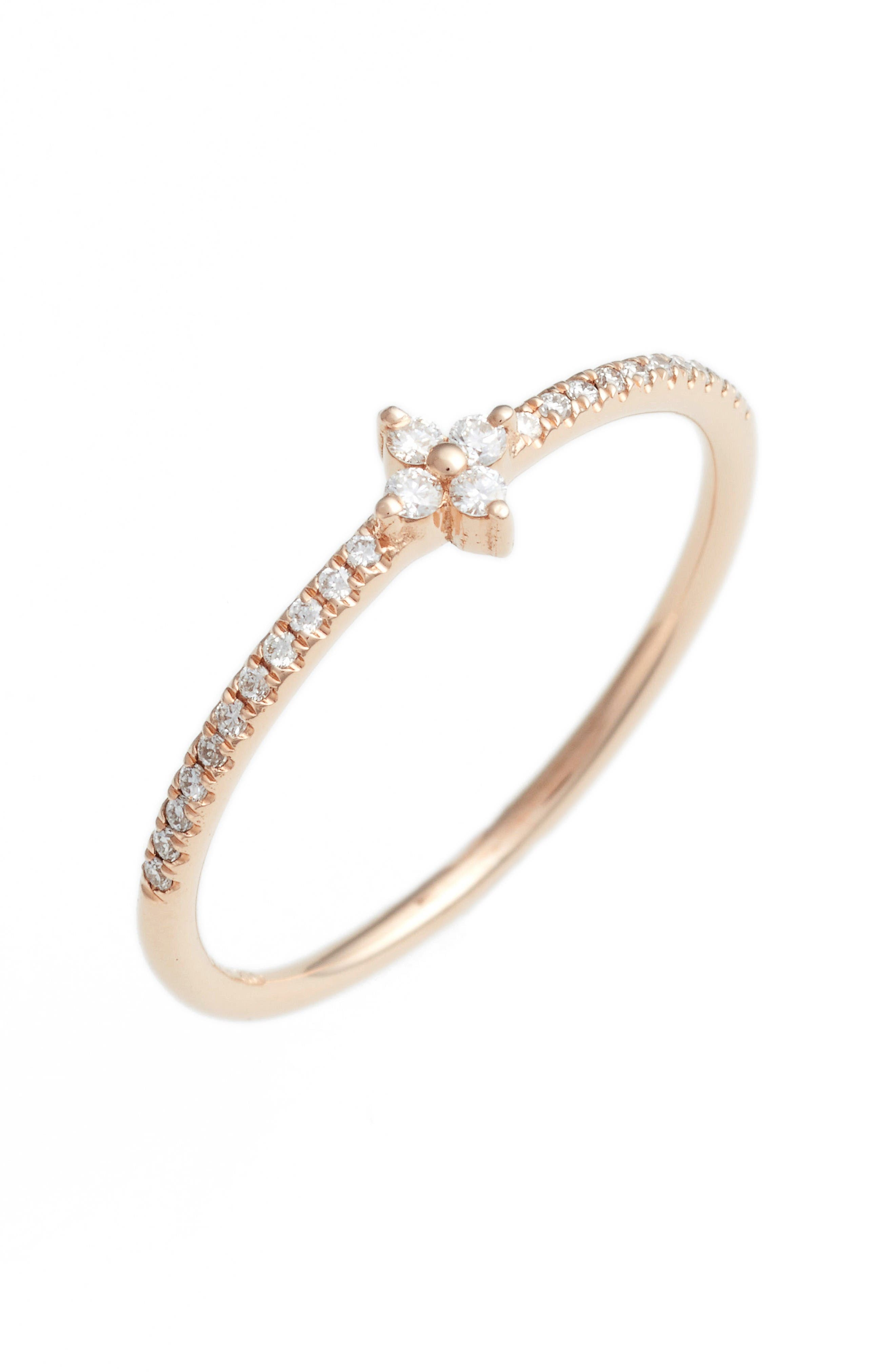 Main Image - Bony Levy Diamond Flower Stack Ring (Nordstrom Exclusive)