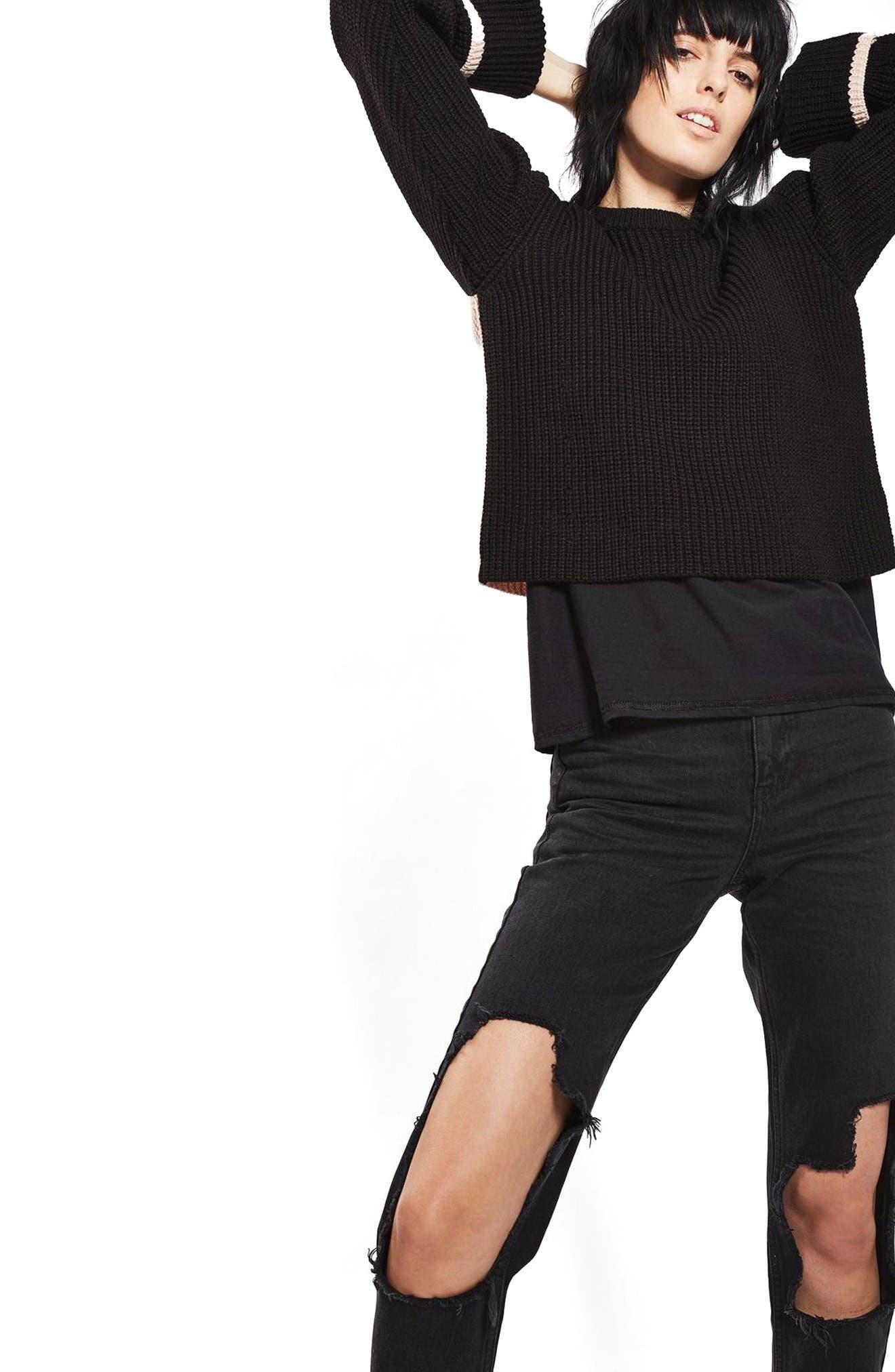 Alternate Image 5  - Topshop Contrast Back Sweater
