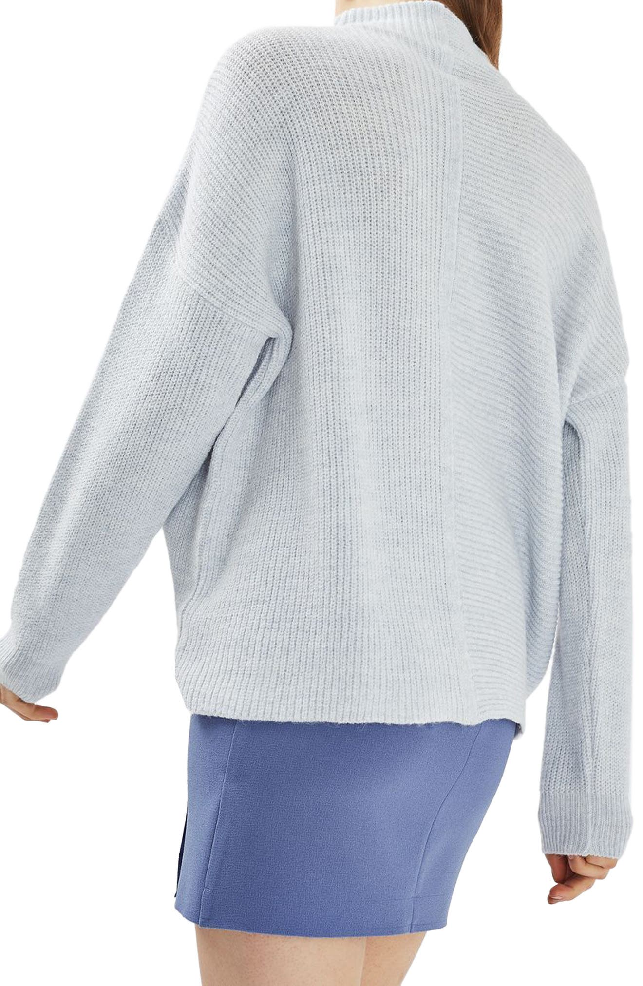 Alternate Image 3  - Topshop Mixed Rib Funnel Sweater