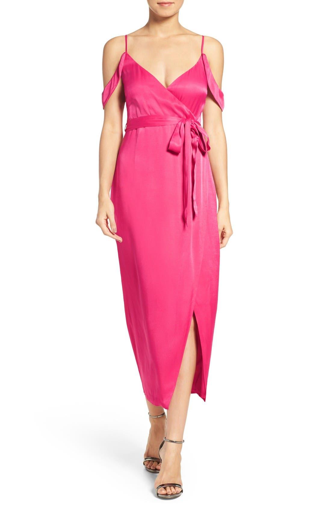 BARDOT Leah Satin Midi Dress