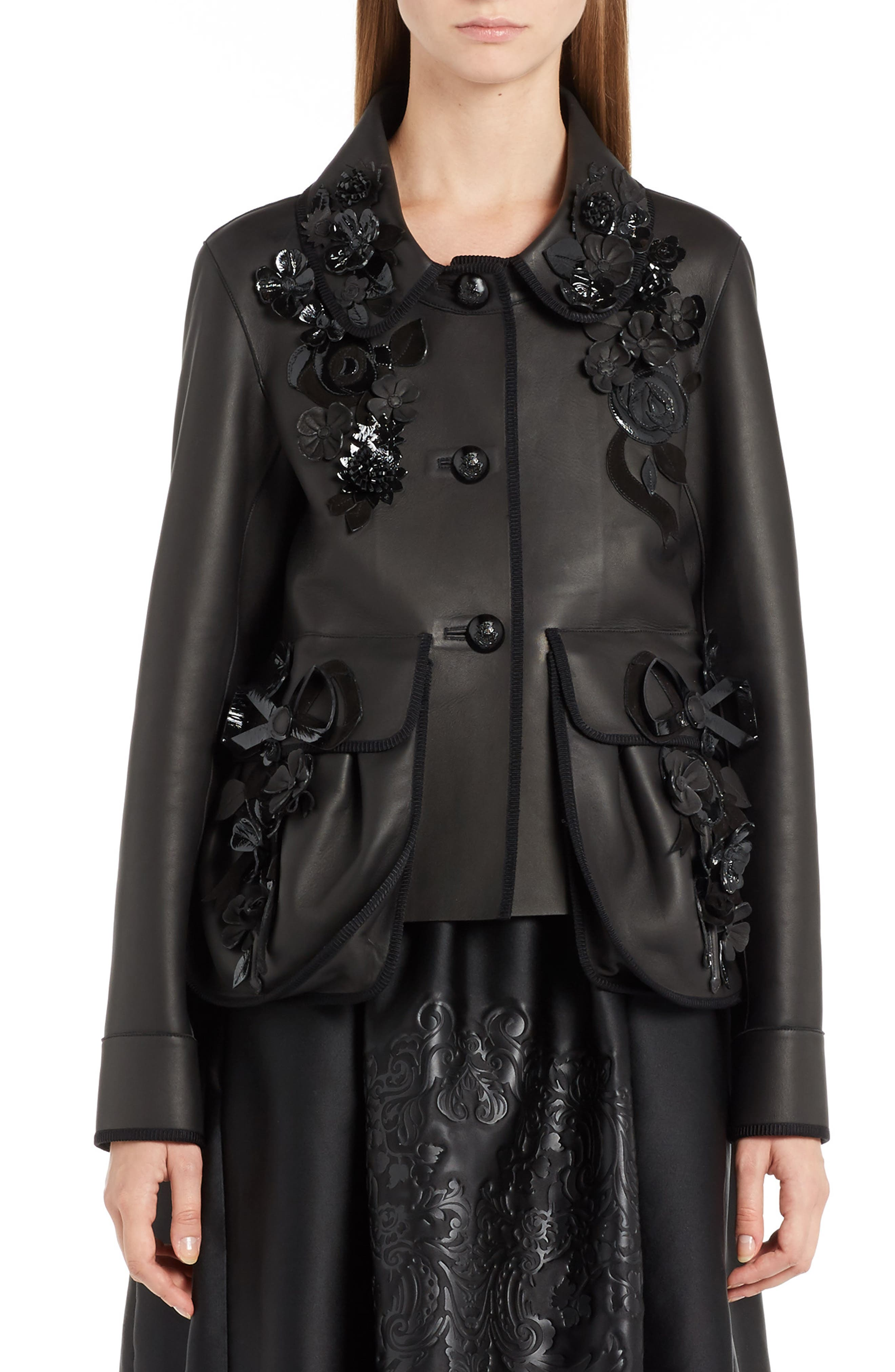 FENDI Floral Appliqué Nappa Leather Jacket