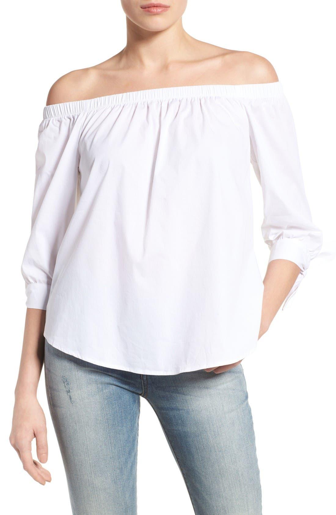 Main Image - Bobeau Off the Shoulder Cotton Poplin Top