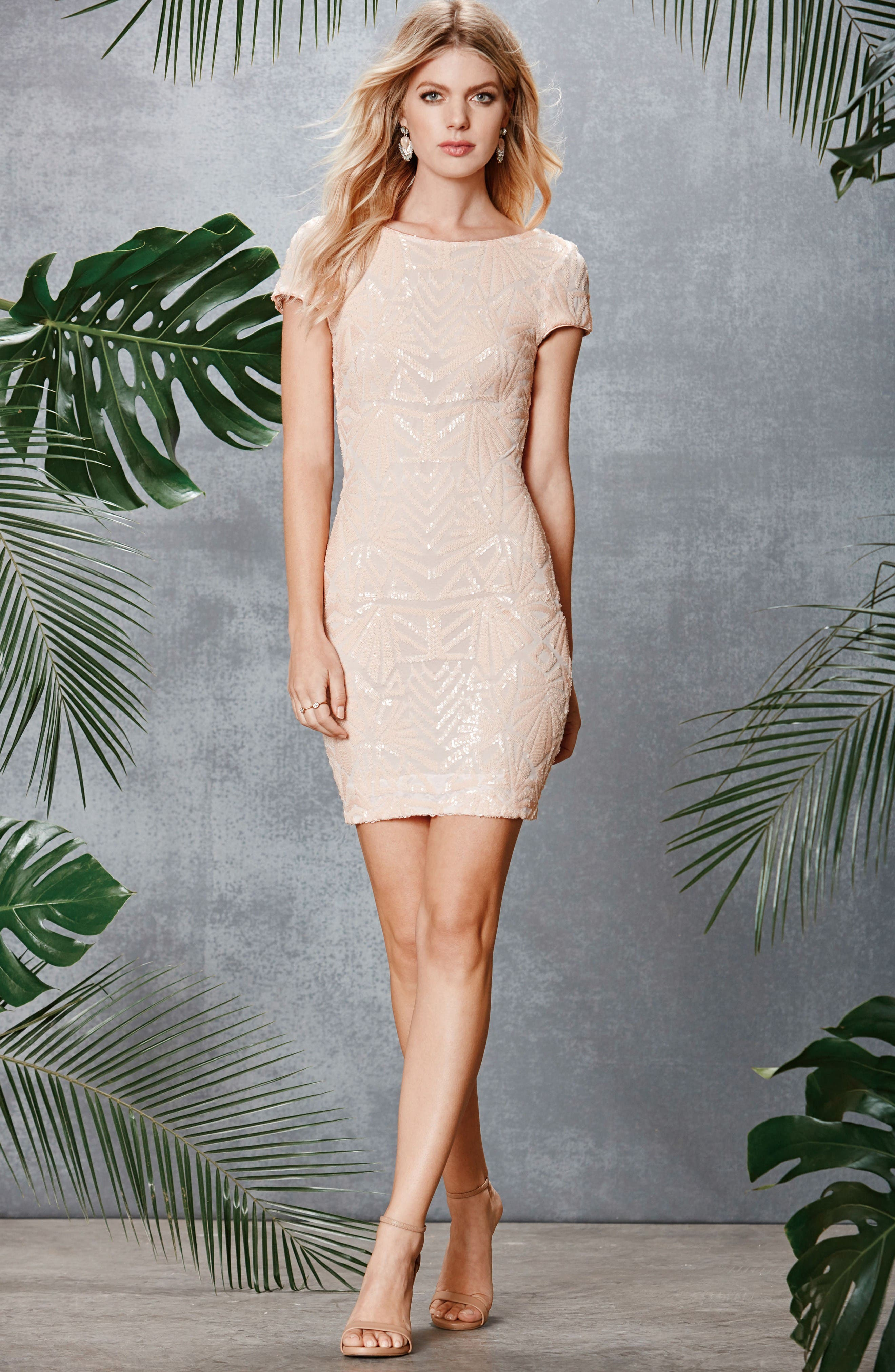 Alternate Image 2  - Dress the Population Tabitha Sequin Mesh Minidress