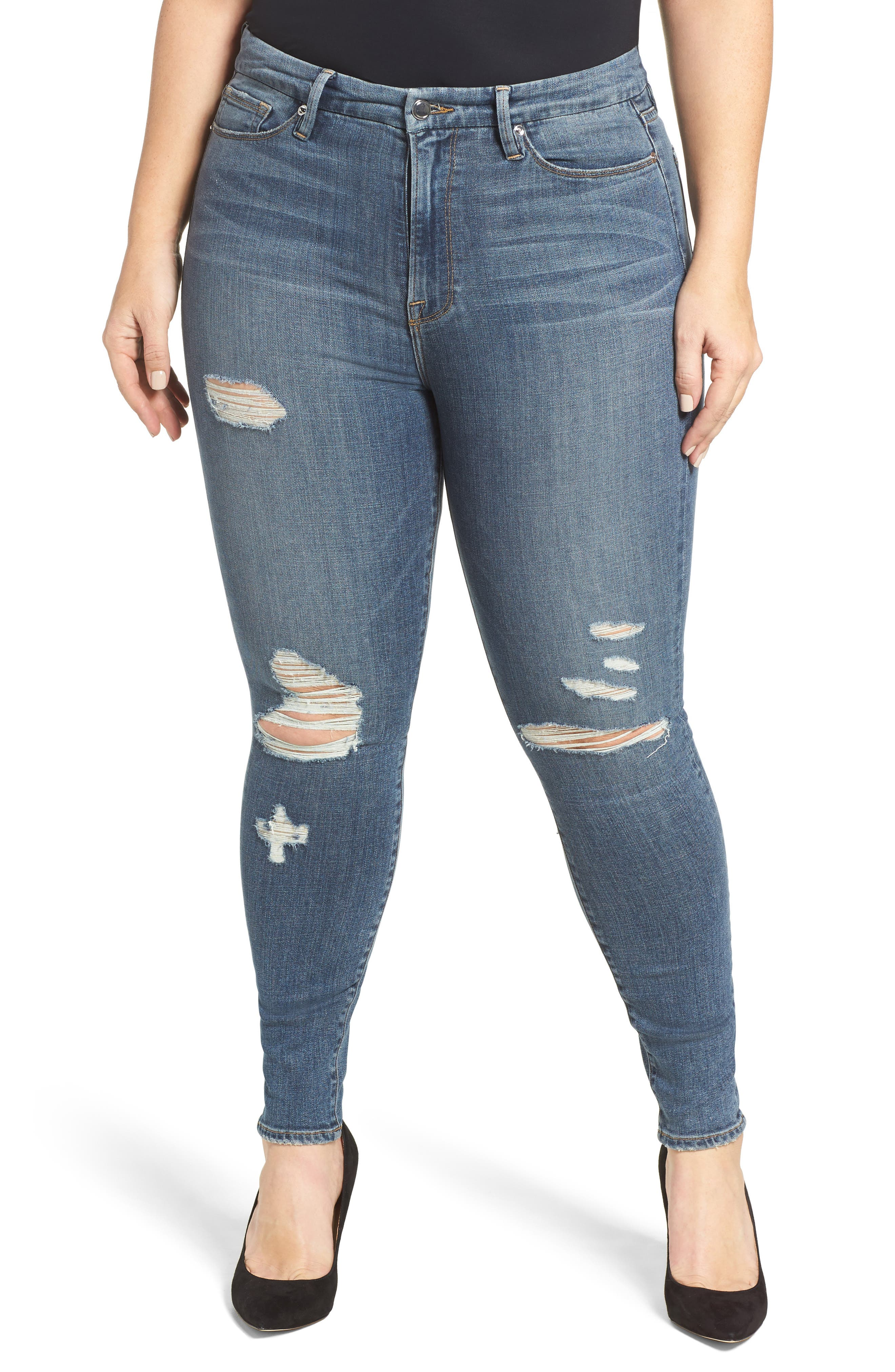 Alternate Image 12  - Good American Good Waist High Waist Ripped Skinny Jeans (Blue 026) (Extended Sizes)