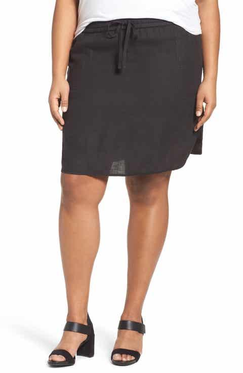 Caslon® Drawstring Waist Linen Skirt (Plus Size)