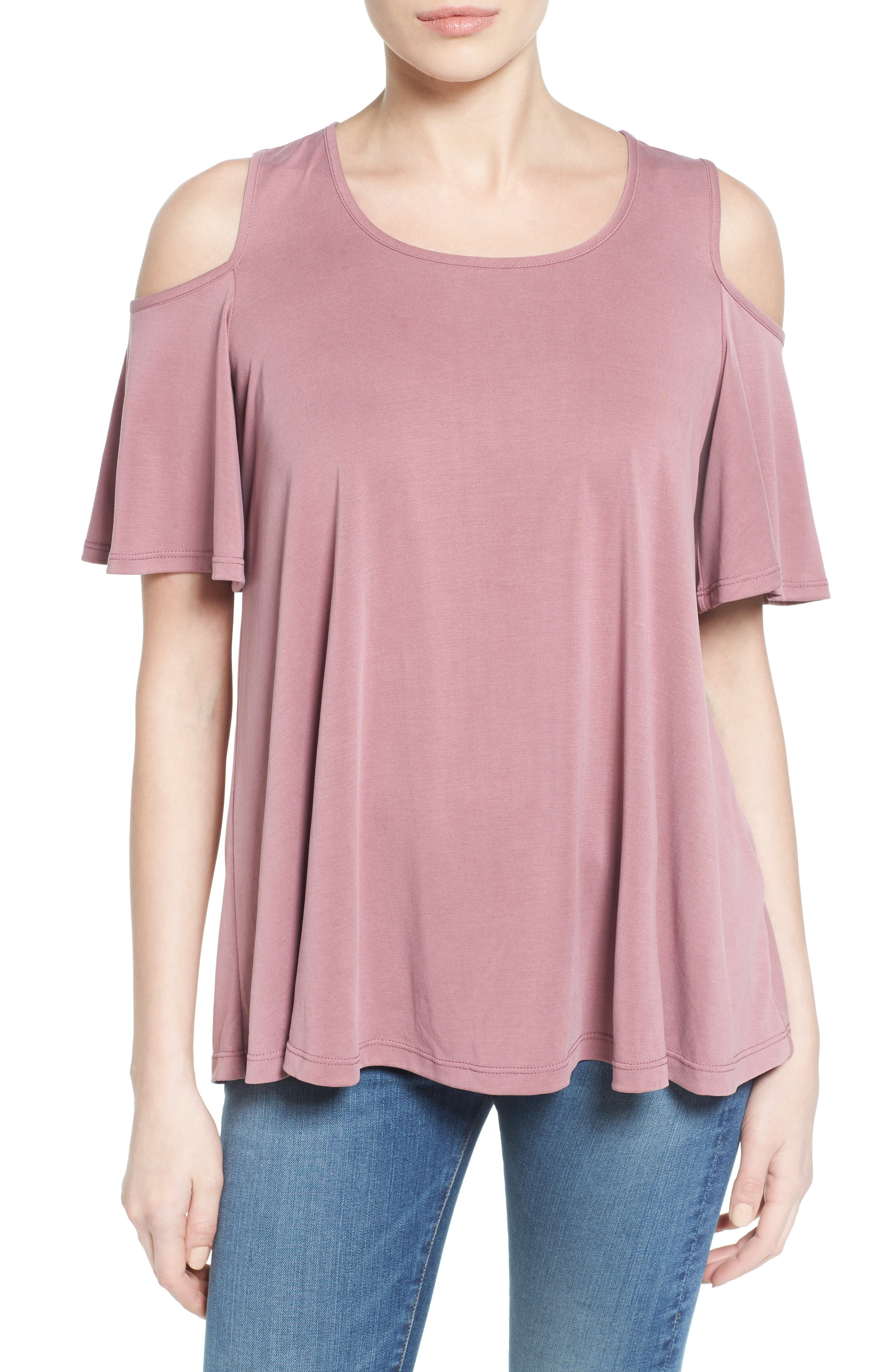 Bobeau Cold Shoulder Flutter Sleeve Top (Regular & Petite)