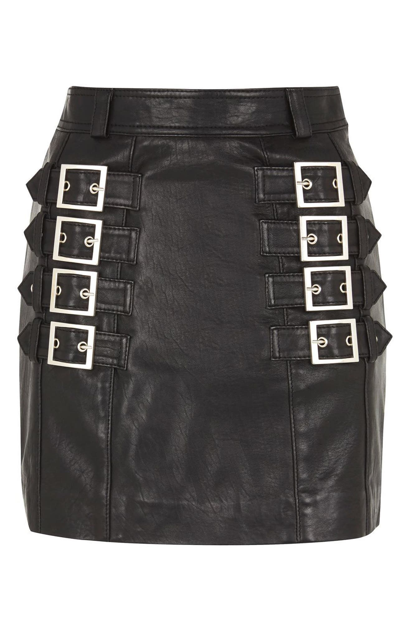 Alternate Image 4  - Topshop Buckle Detail Leather Miniskirt
