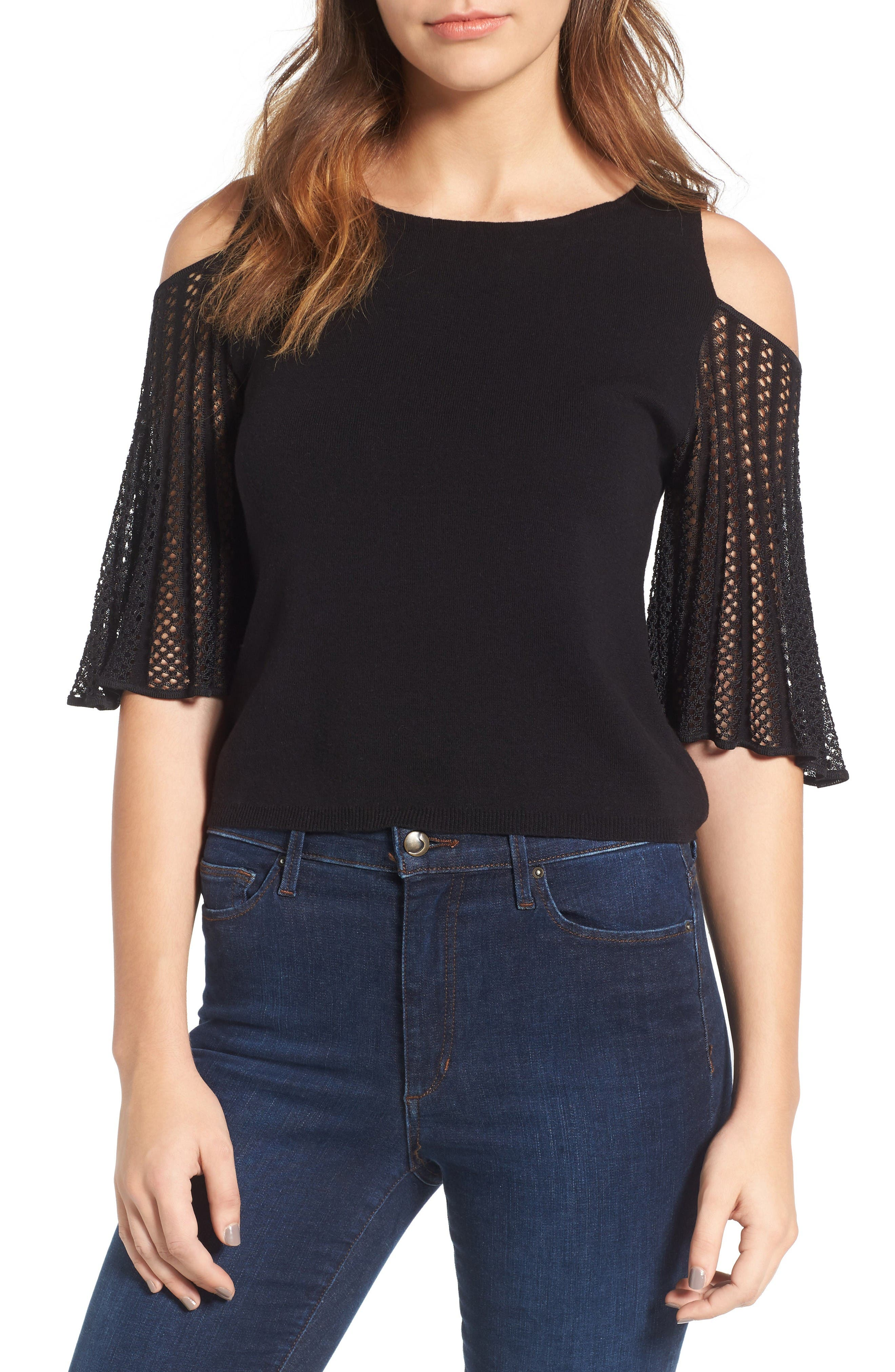 ELLA MOSS Avalyn Pointelle Sleeve Cold Shoulder Sweater